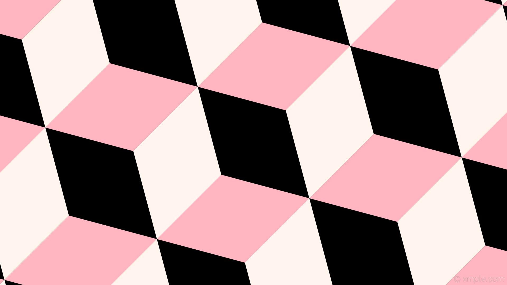 wallpaper pink 3d cubes white black seashell light pink #000000 #fff5ee  #ffb6c1 315