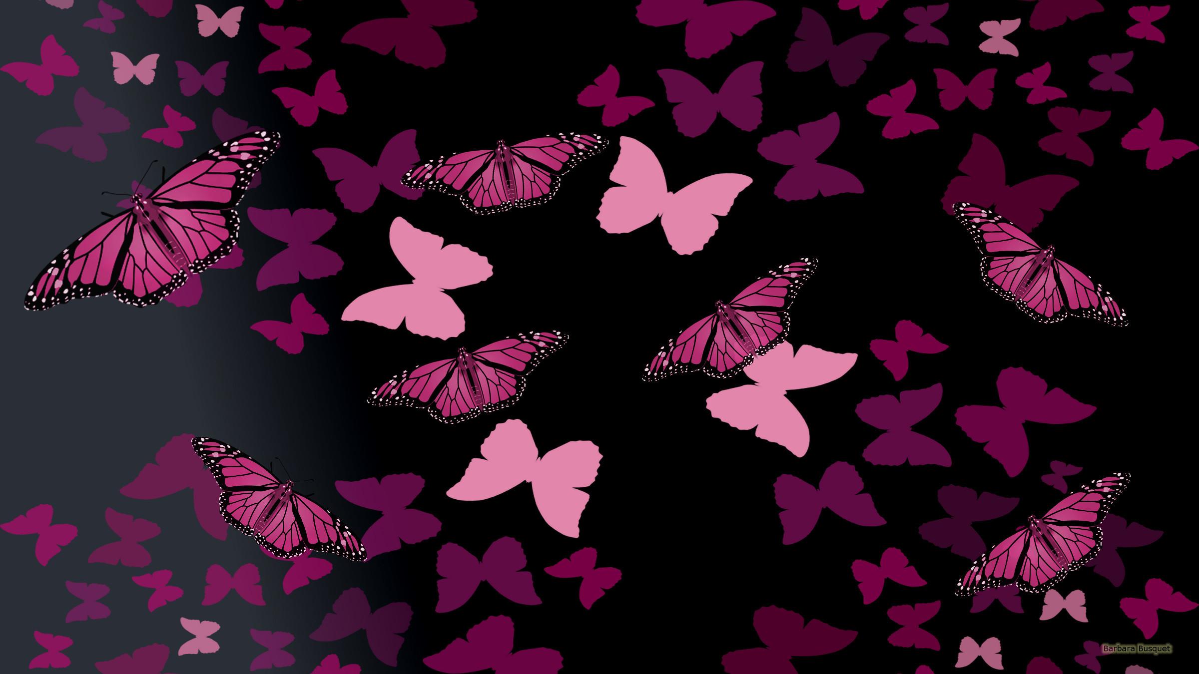 Black wallpaper pink butterflies