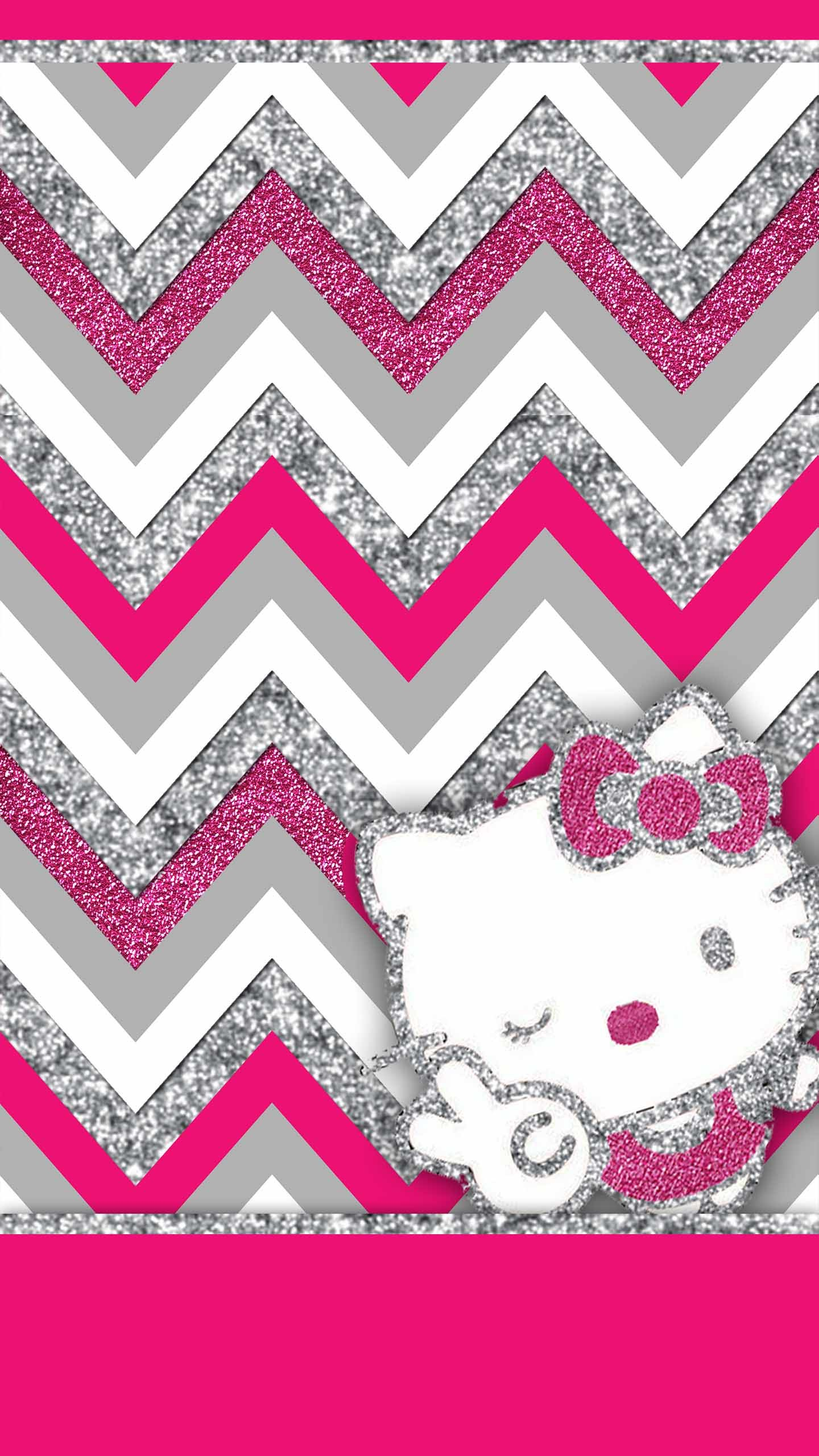 Free Pink and Silver Glitter wallpaper pack including minnie mouse and  hello kitty. Available for