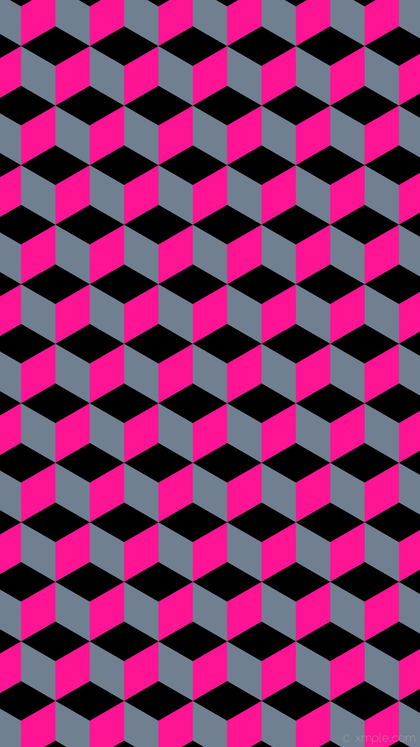 wallpaper pink black 3d cubes grey slate gray deep pink #708090 #ff1493  #000000