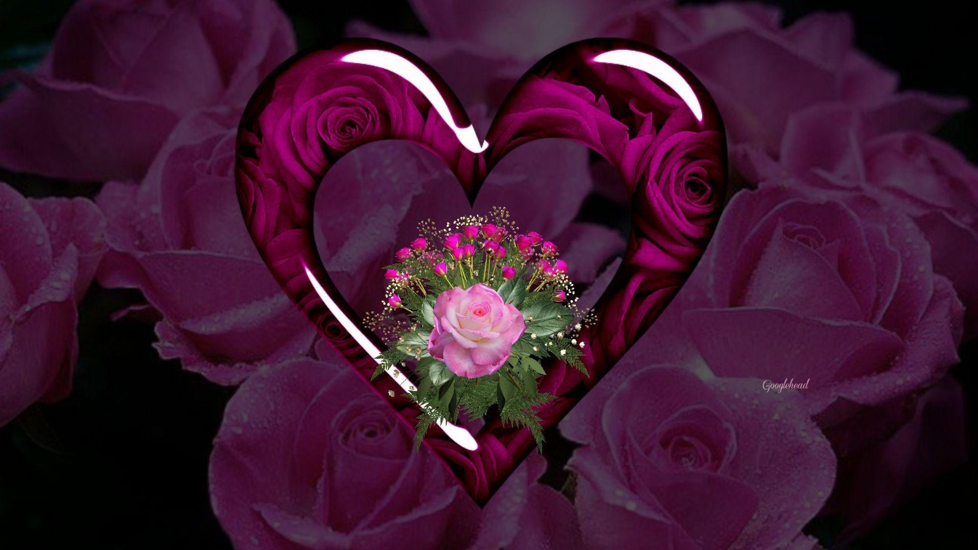 purple hearts and roses   Purple Hearts And Roses Wallpaper Red roses and  hearts wallpapers .