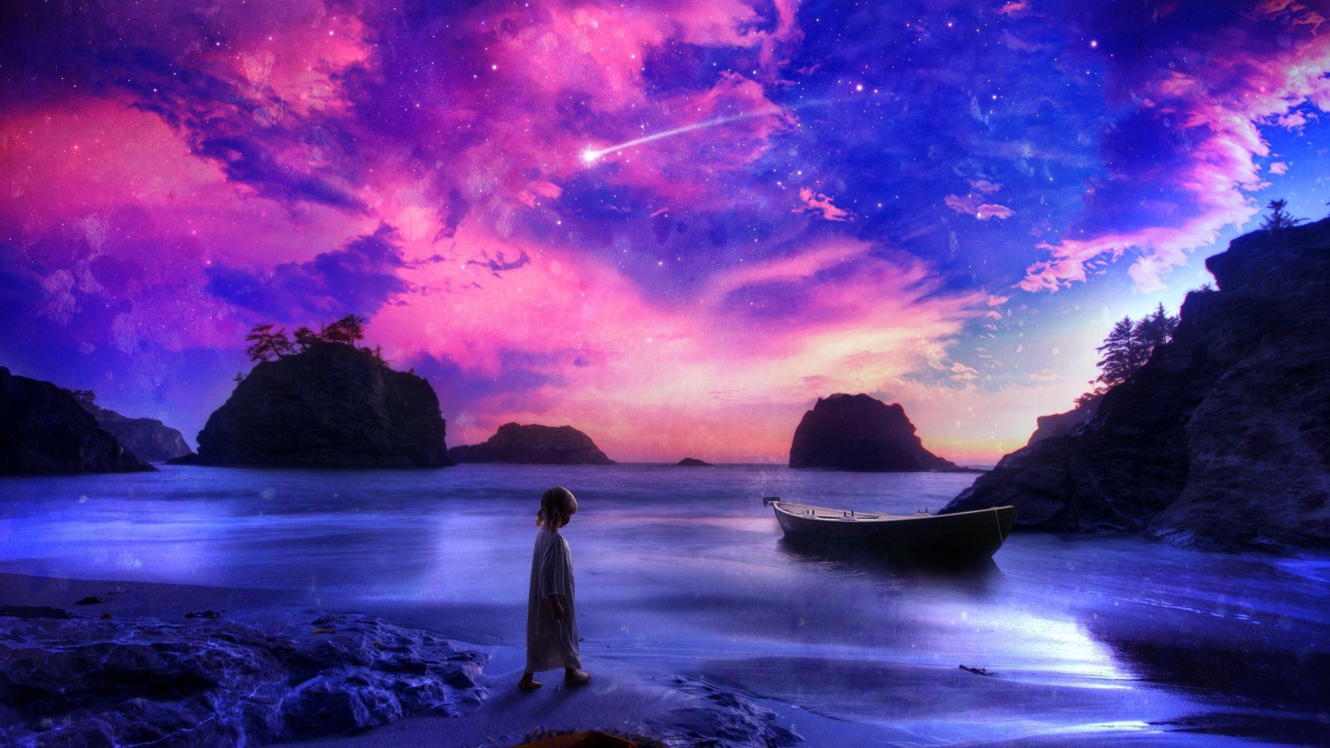 Child Shore Beach Purple Boat Stars Shooting Star fantasy ocean .