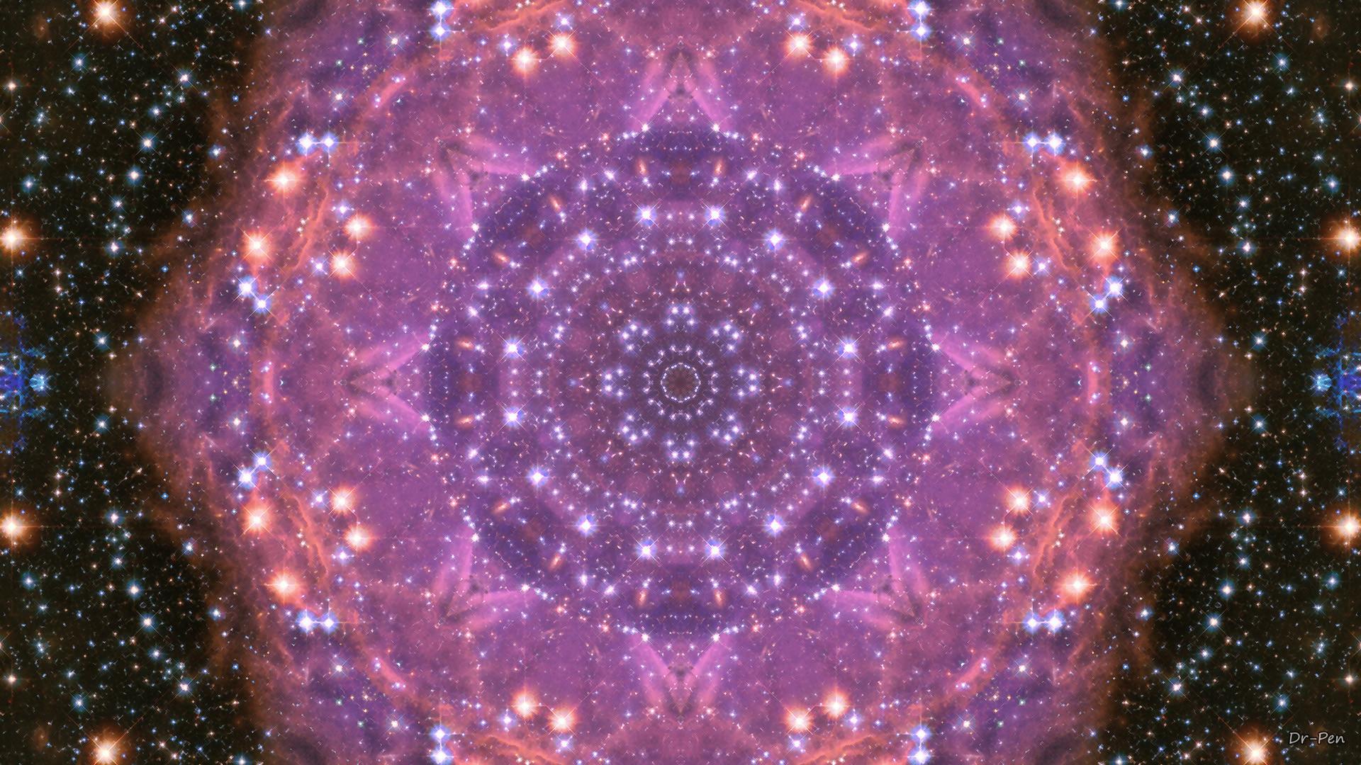 Abstract – Pattern Abstract Artistic Digital Mandala Manipulation Purple  Stars Wallpaper