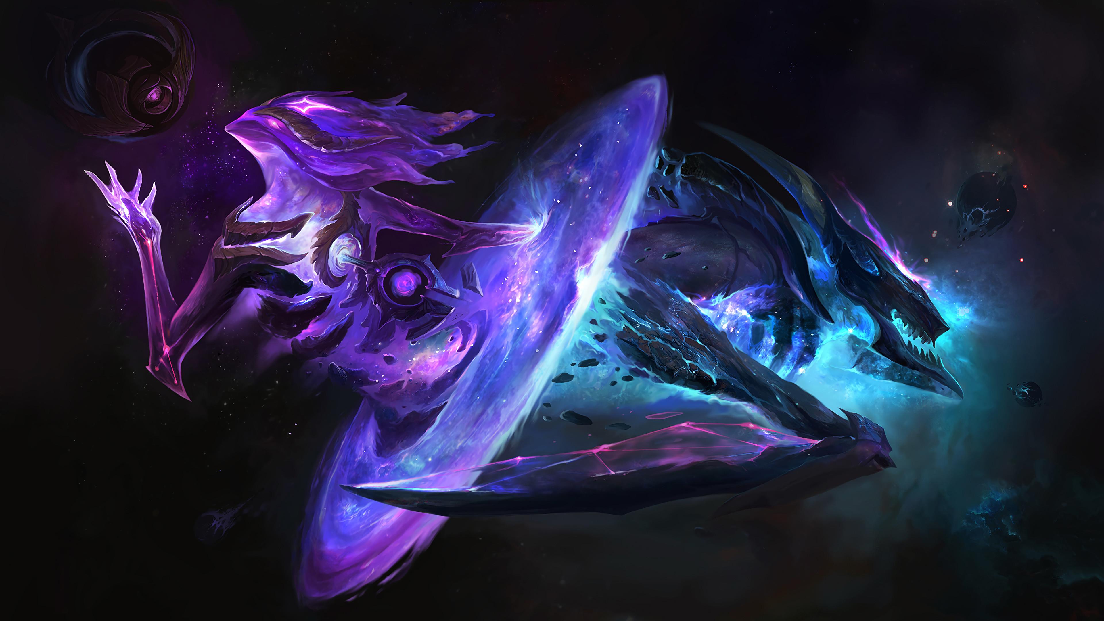 Dark Star Orianna & Kha'Zix Login Screen HD Wallpaper Official Art Artwork  League of