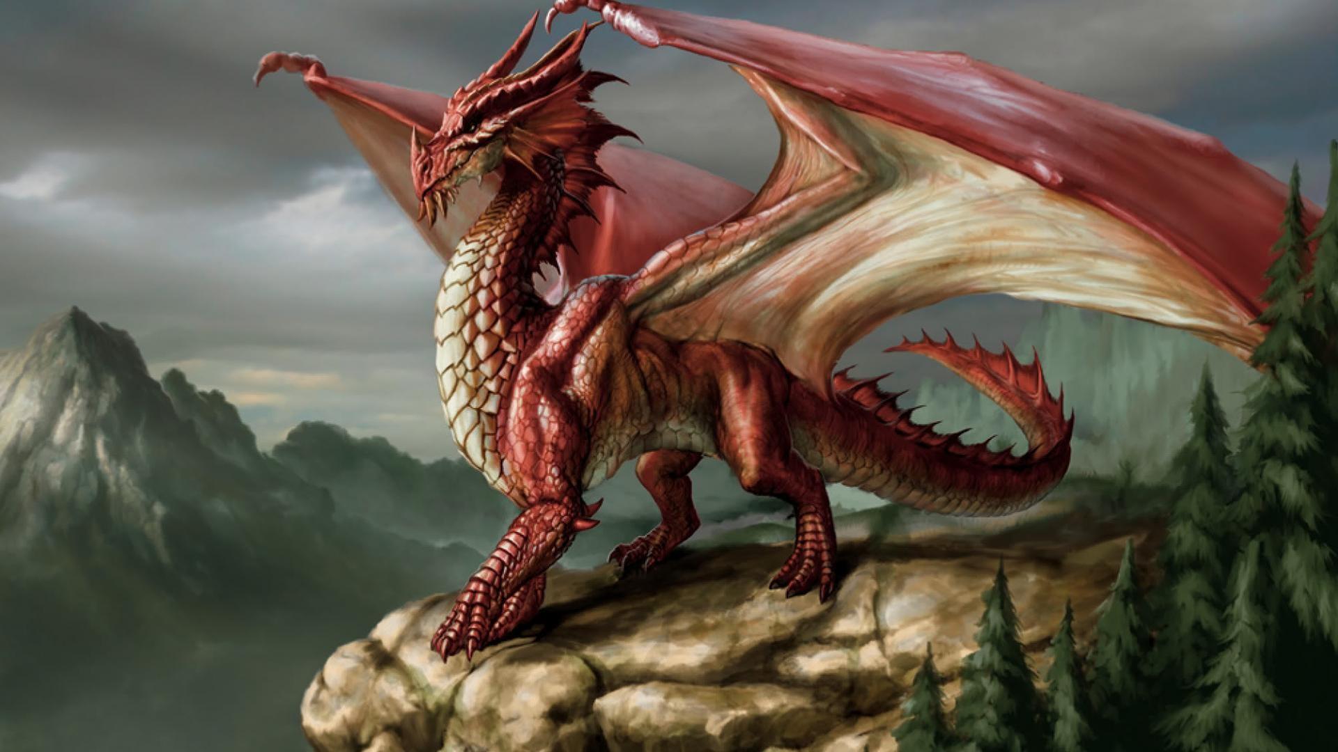 Majestic Red Dragon Wallpaper