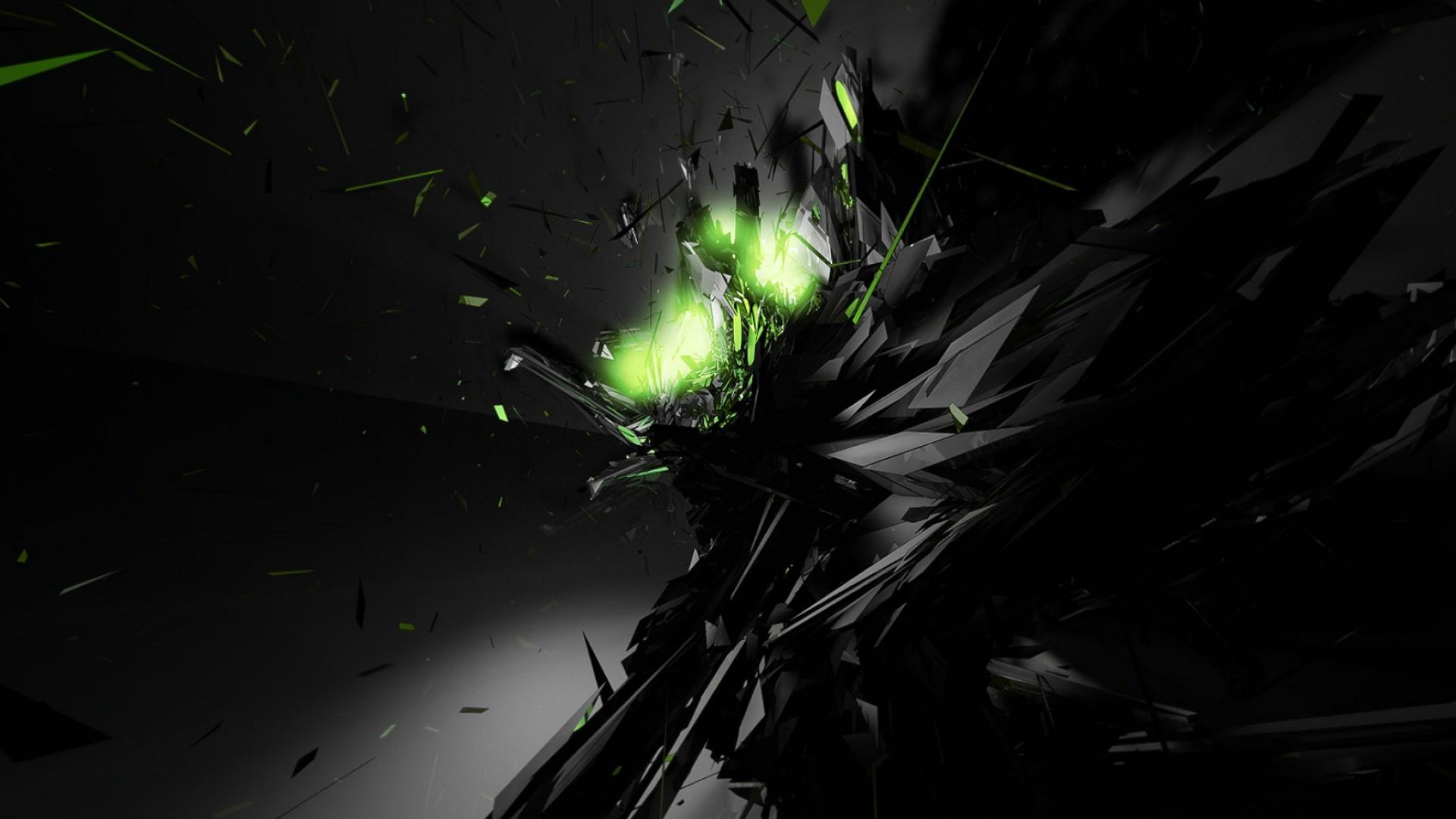 Black Abstract Green Glow Desktop Wallpaper