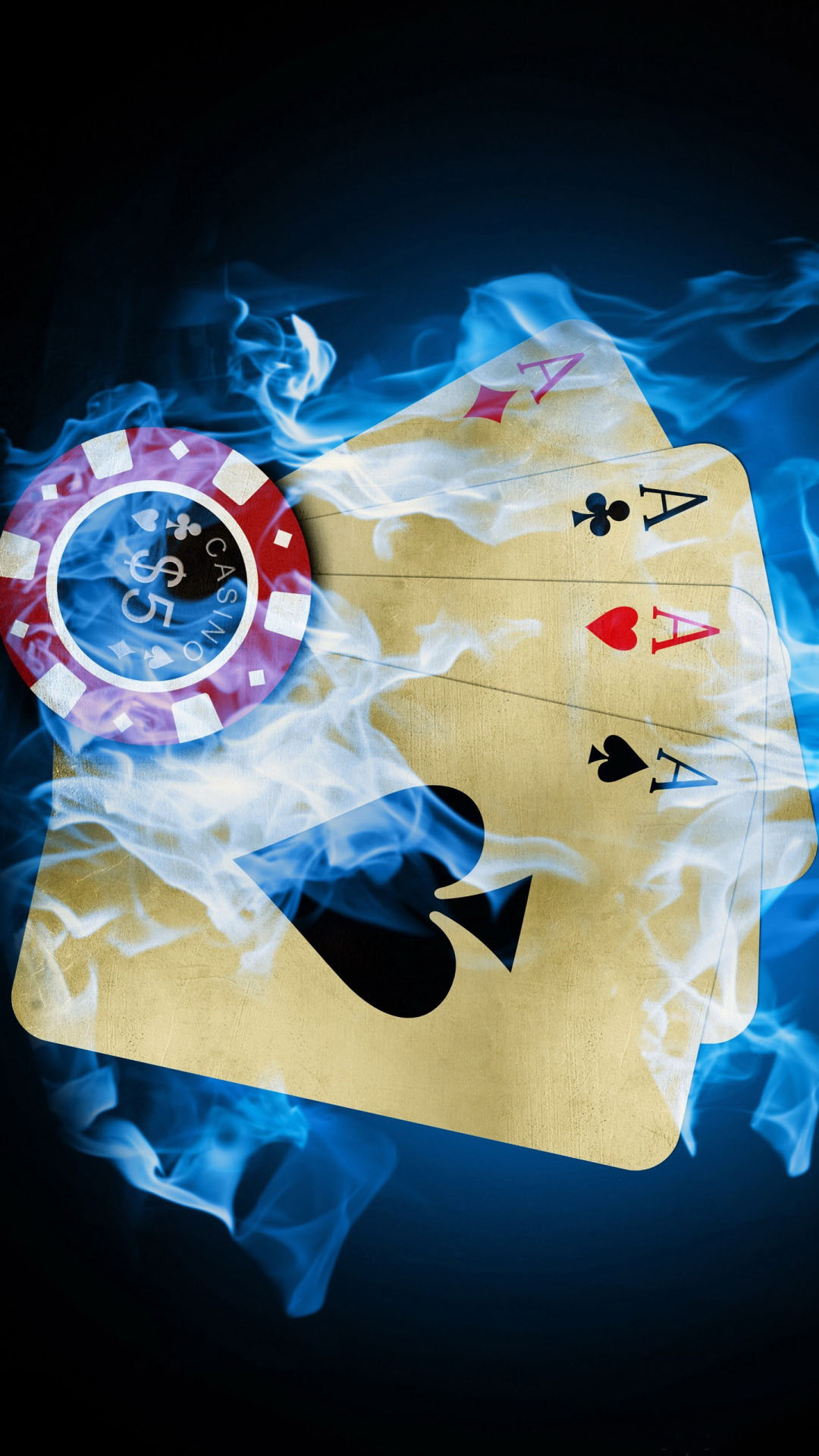Four Aces Poker Burning Blue Fire Android Wallpaper …