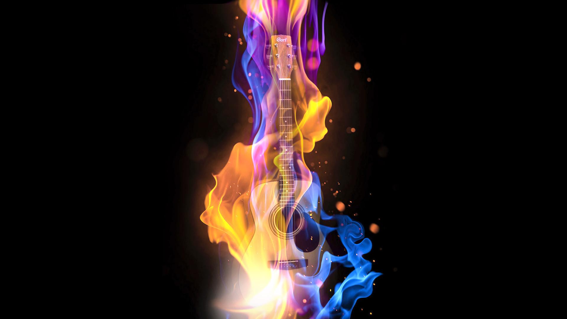 MUSIC ABSTRACT GUITAR FIRE DIGITAL ART DESKTOP BACKGROUND .
