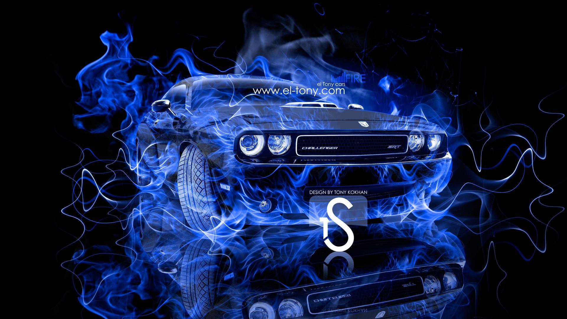 Dodge-Challenger-Muscle-Blue-Fire-Car-2013-HD- …