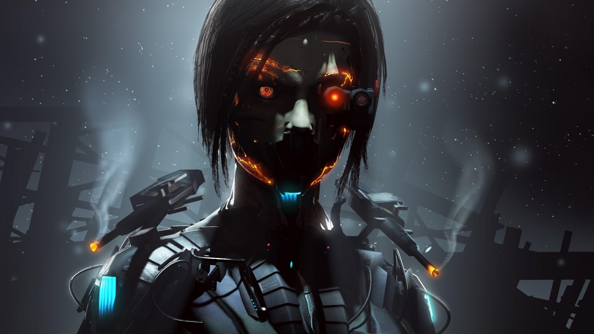 Wallpaper robot, cyborg, eyes, dark