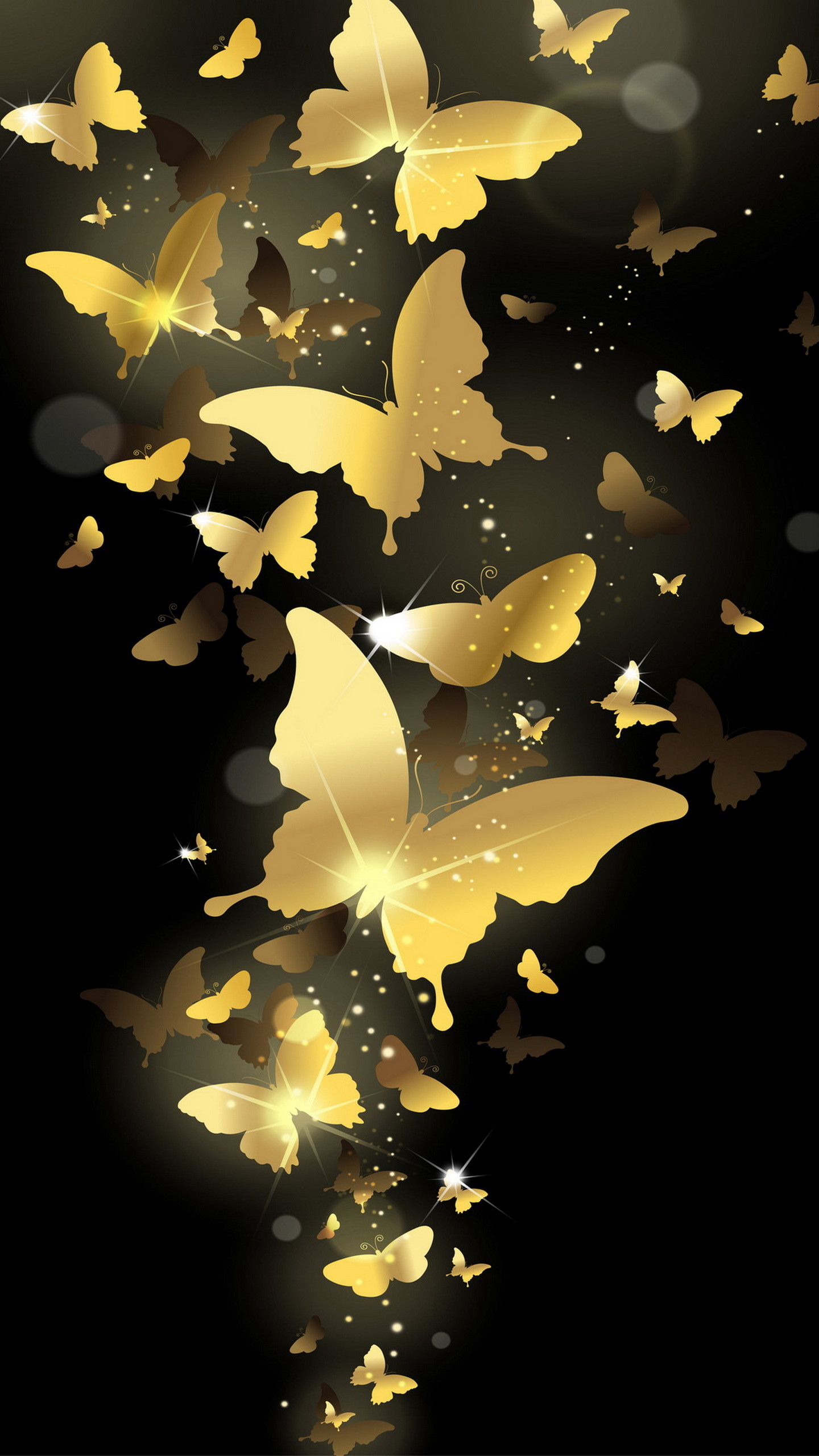 Flying Golden Butterflies Lockscreen Lock Screen Samsung Galaxy  Note 4 Wallpaper, Quad HD,