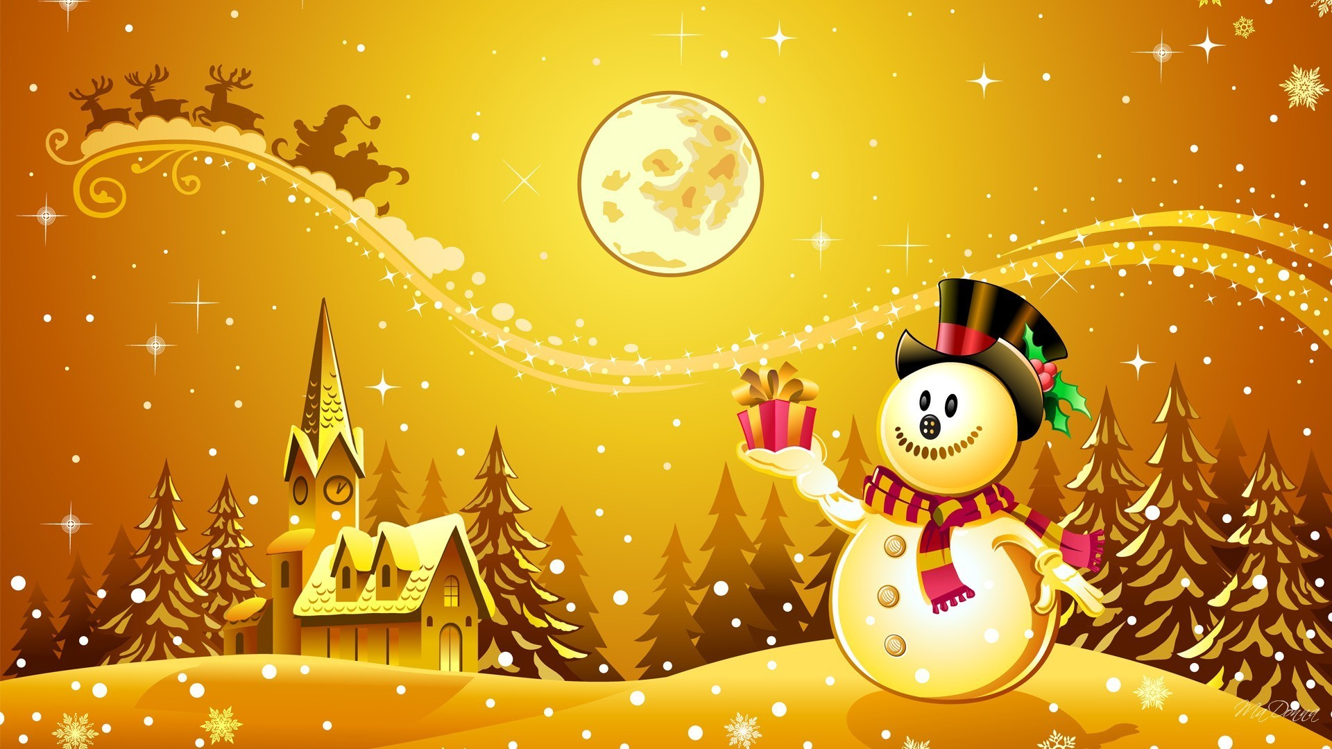 Navidad Tag – Reindeer Claus Holiday Snow Golden Nick Navidad Gold  Christmas Snowman Moon Full Santa