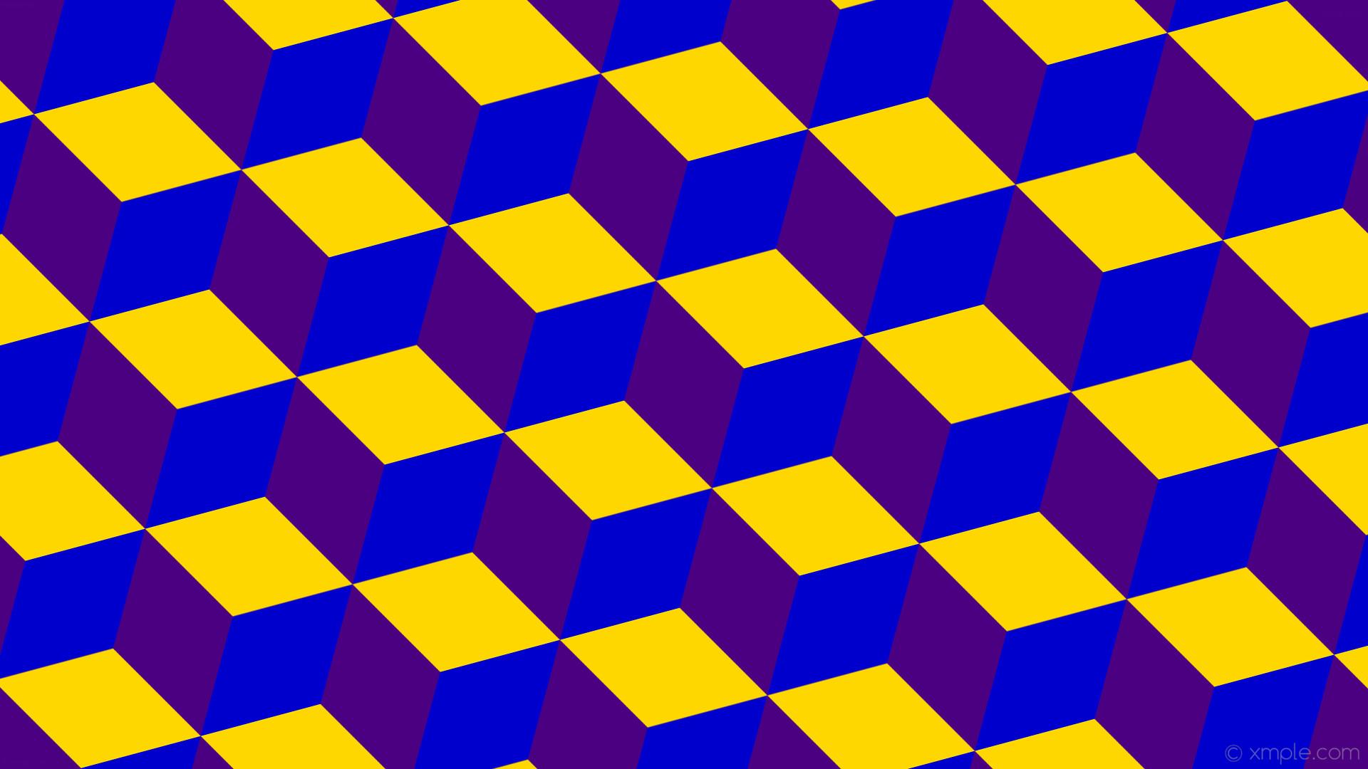 wallpaper purple blue 3d cubes yellow indigo medium blue gold #4b0082  #0000cd #ffd700