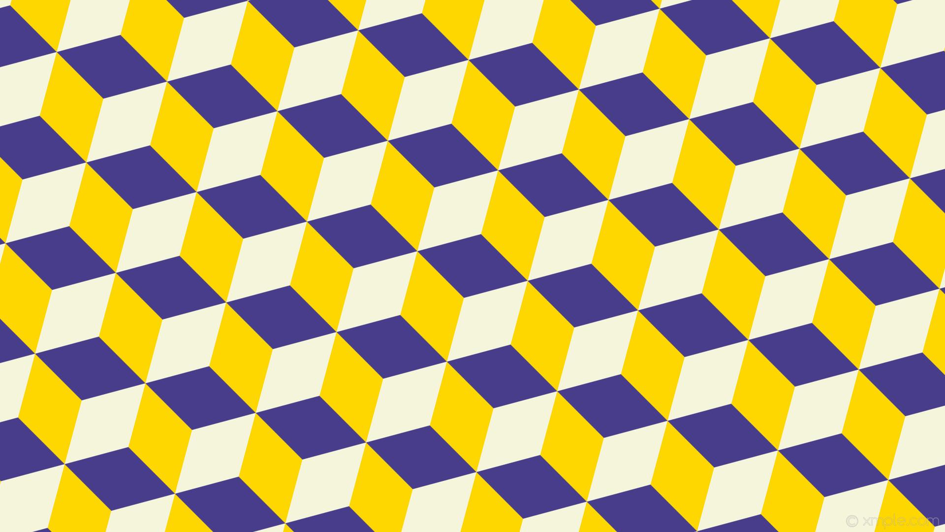 wallpaper 3d cubes purple white yellow dark slate blue gold beige #483d8b  #ffd700 #