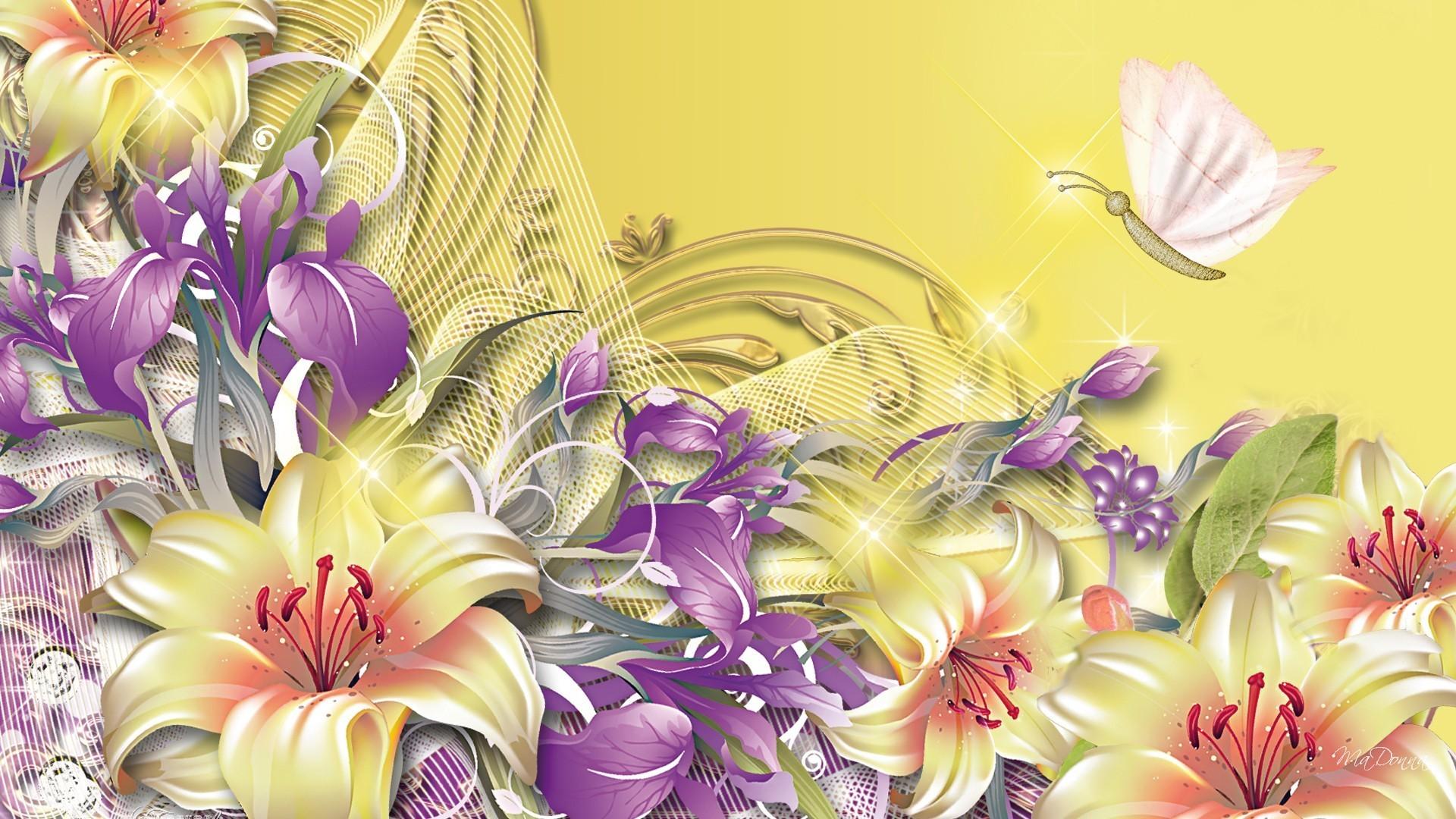Iris Lavender Purple Flowers Papillon Fleurs Lilies Gold Netting Yellow  Silk Golden Butterfly Flower Garden Wallpaper Free Download Detail