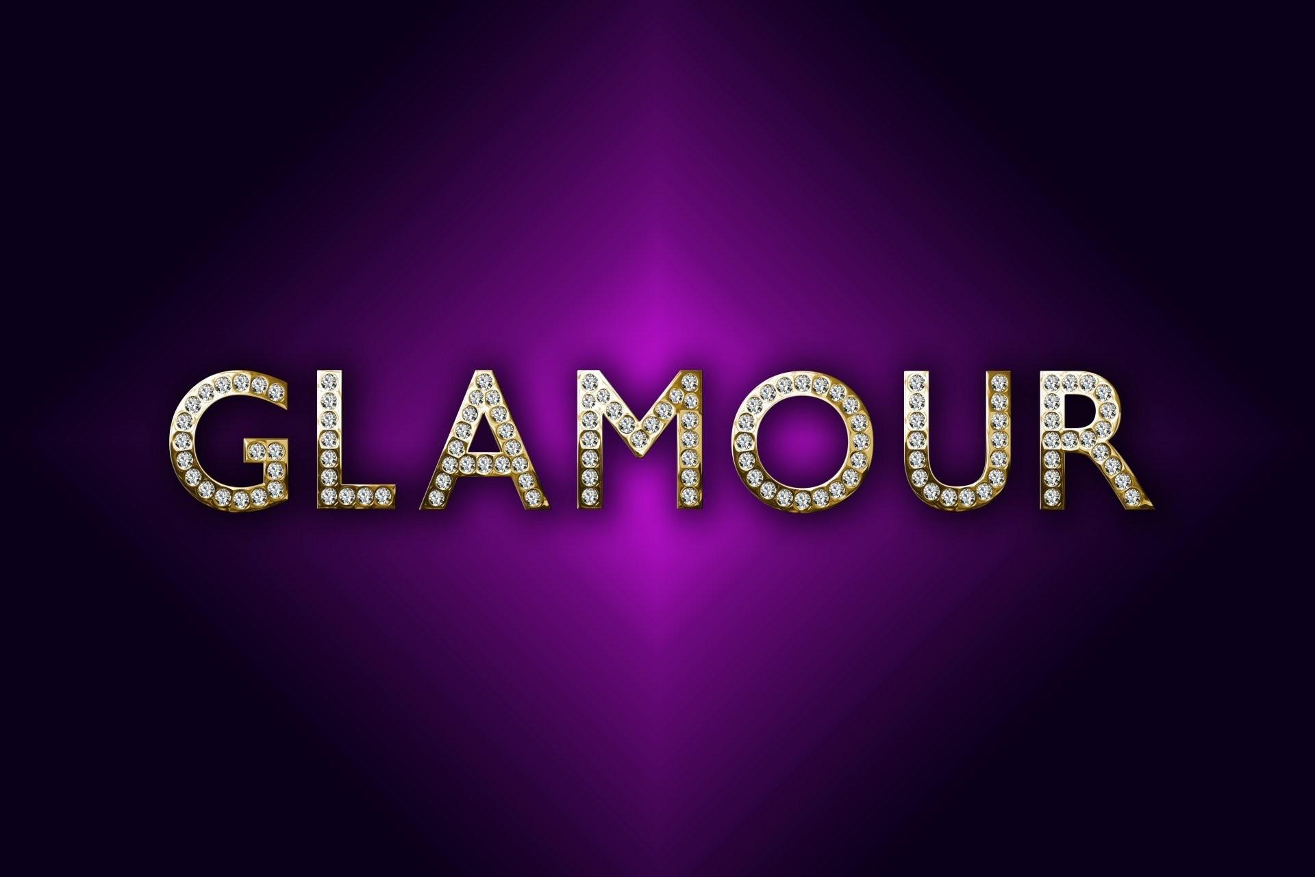 glamour luxury gold diamonds letters purple background design by marika