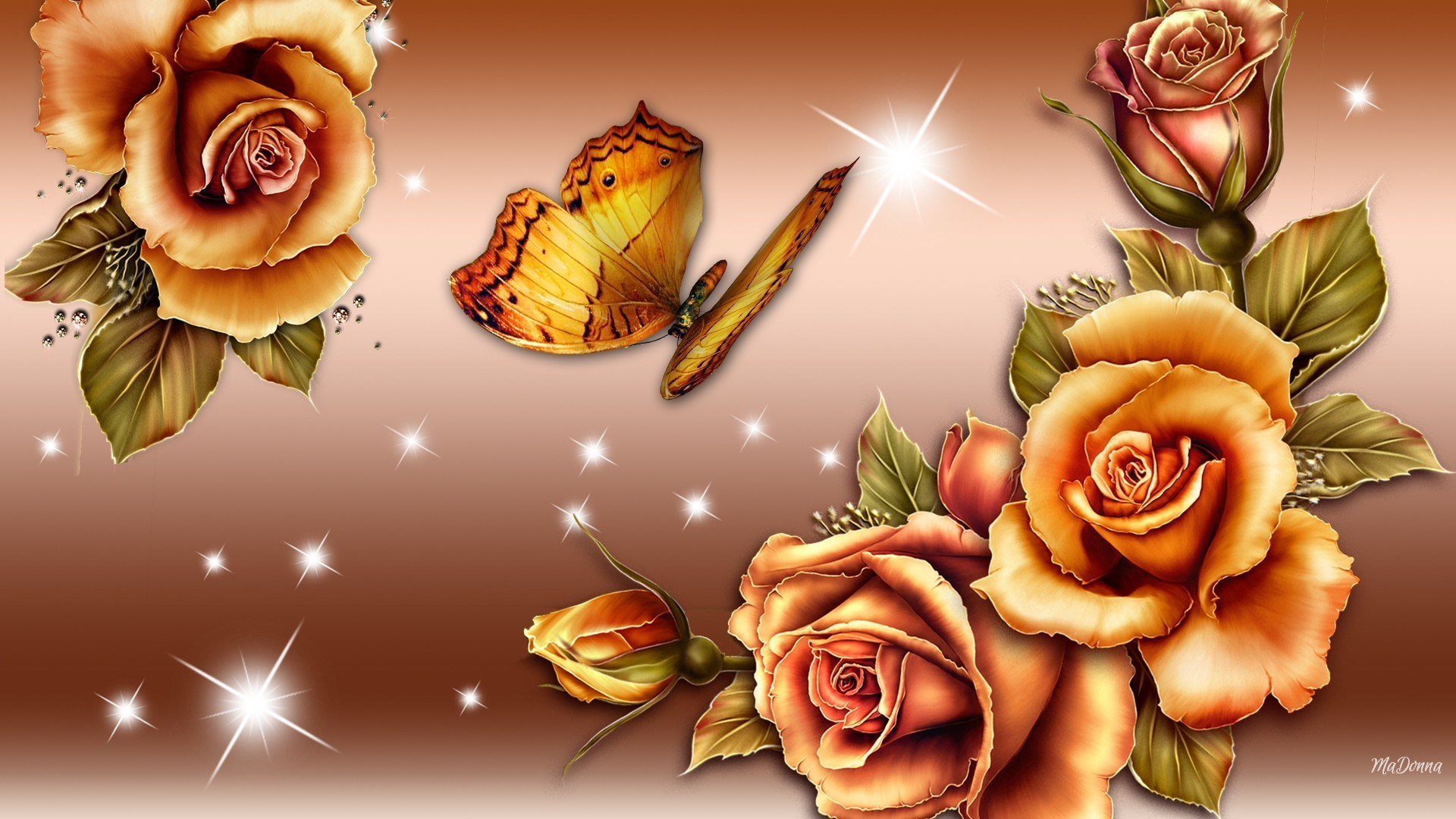 Gradient Tag – Butterfly Gold Shine Glow Roses Bronze Gradient Beautirful  Golden Lovely Nice Flower Hd