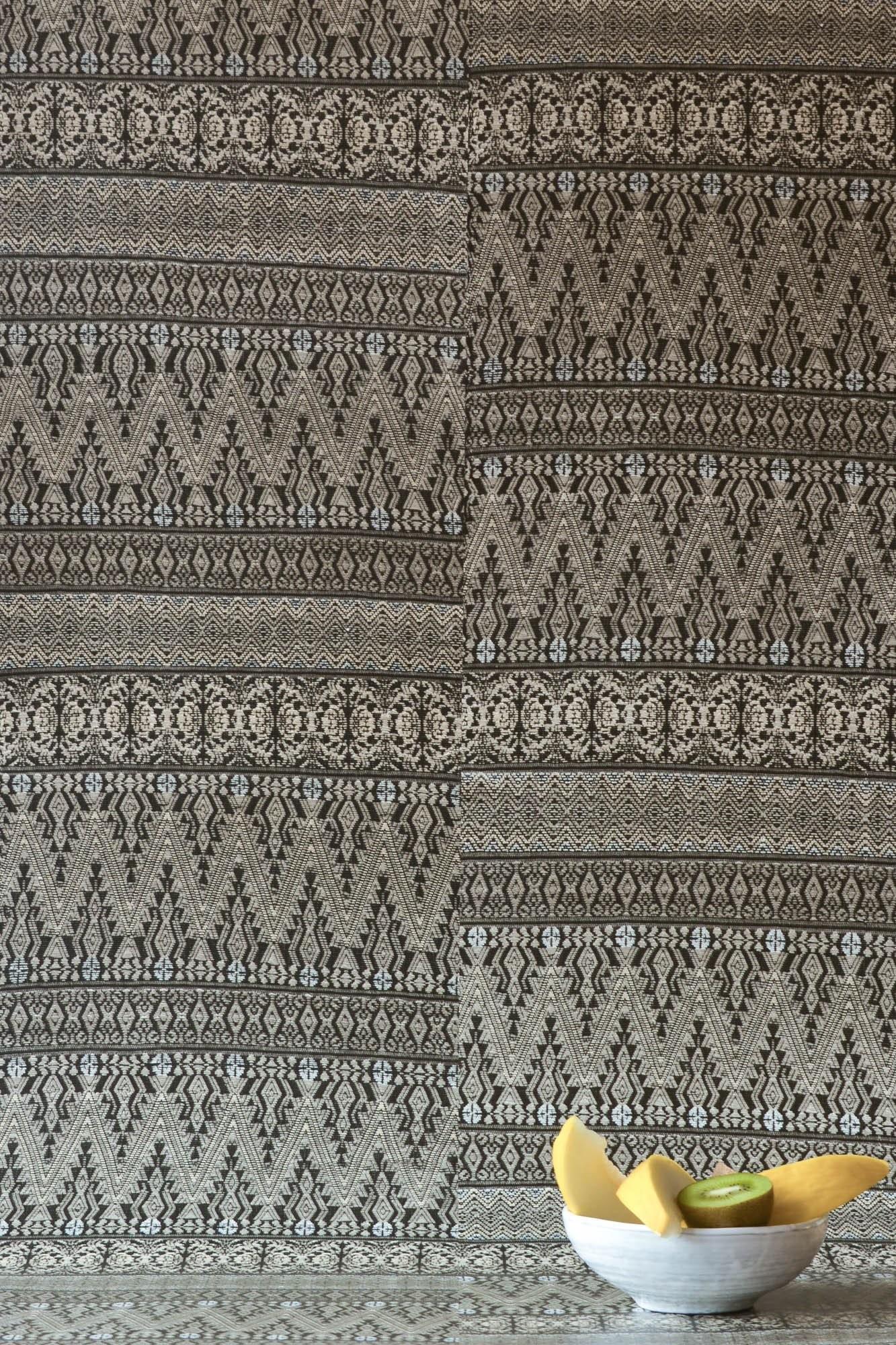 Dark Grey Aztec Embroidery Wallpaper