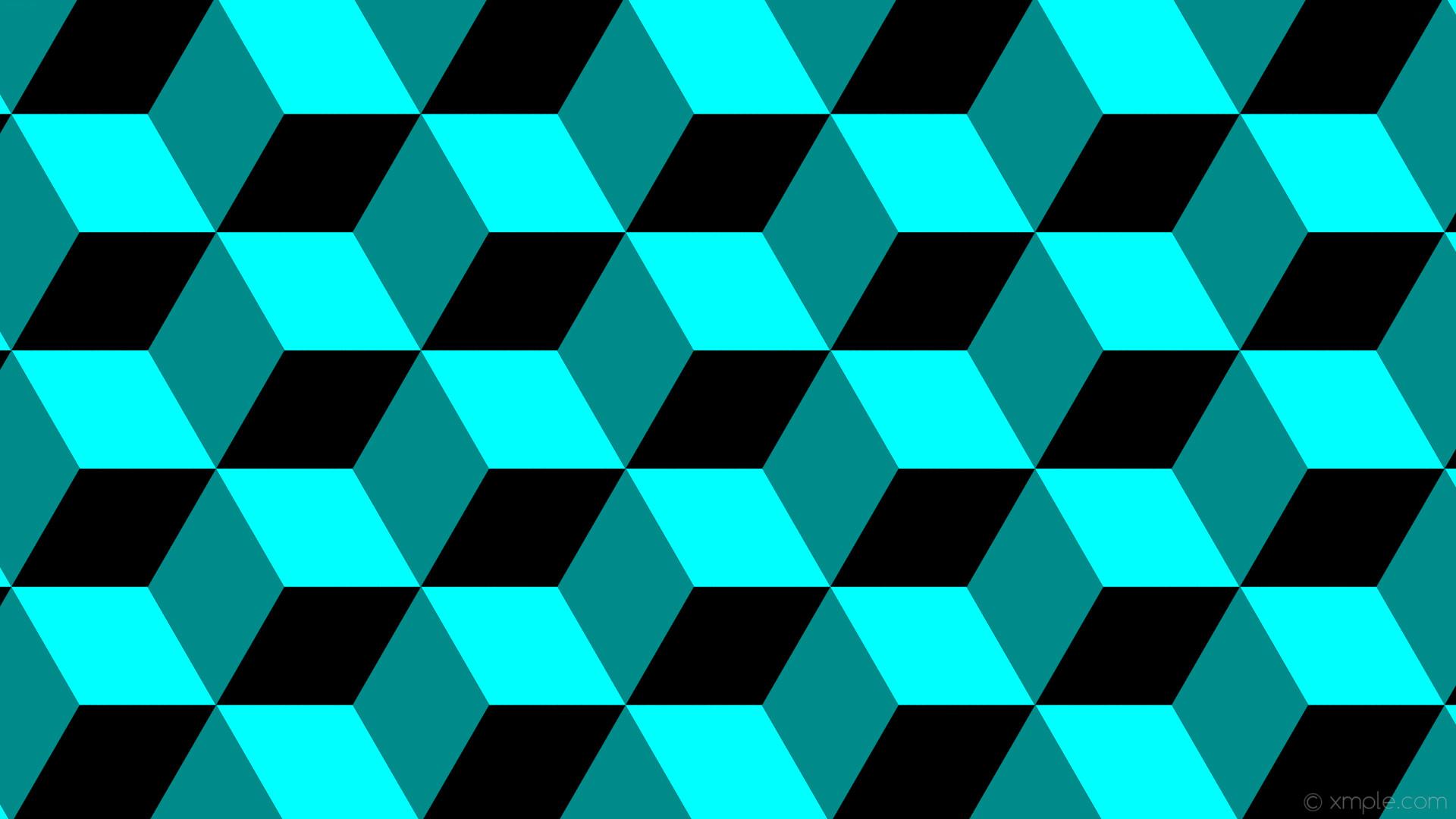 wallpaper green blue 3d cubes black aqua cyan dark cyan #000000 #00ffff  #008b8b