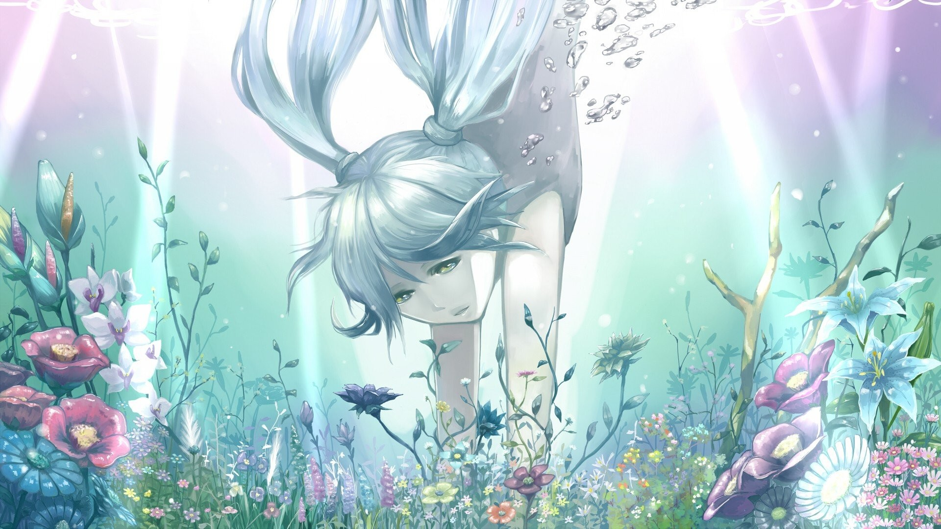 Anime Girls Aqua Hair Bangs Bare Shoulders Blue Bubbles Dress Flowers Gray  Green Eyes Ornaments Hatsune Miku Long Nature Plants Twintails Underwater  …