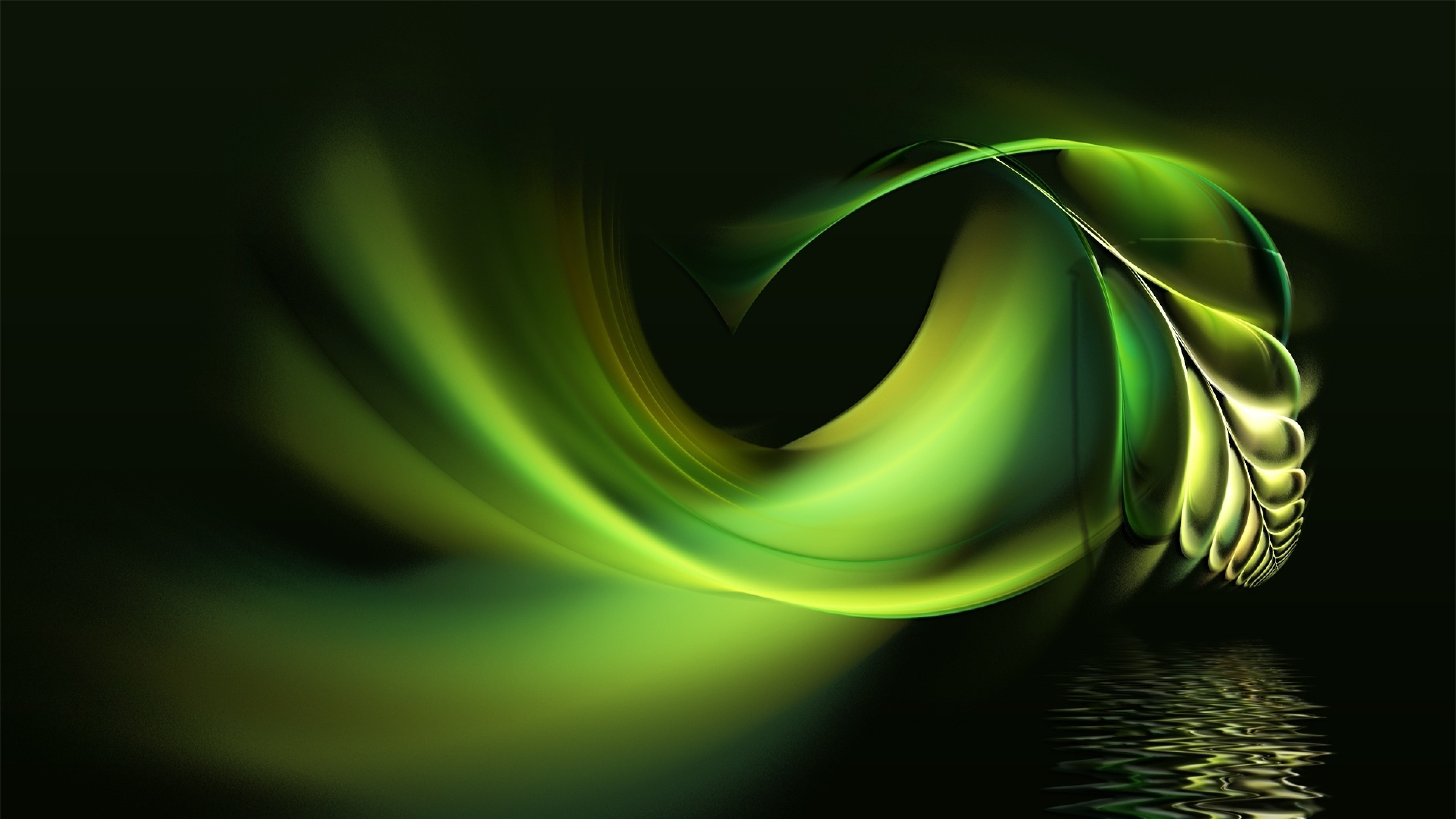 Preview wallpaper black, white, abstract, pen, water, green 3840×2160