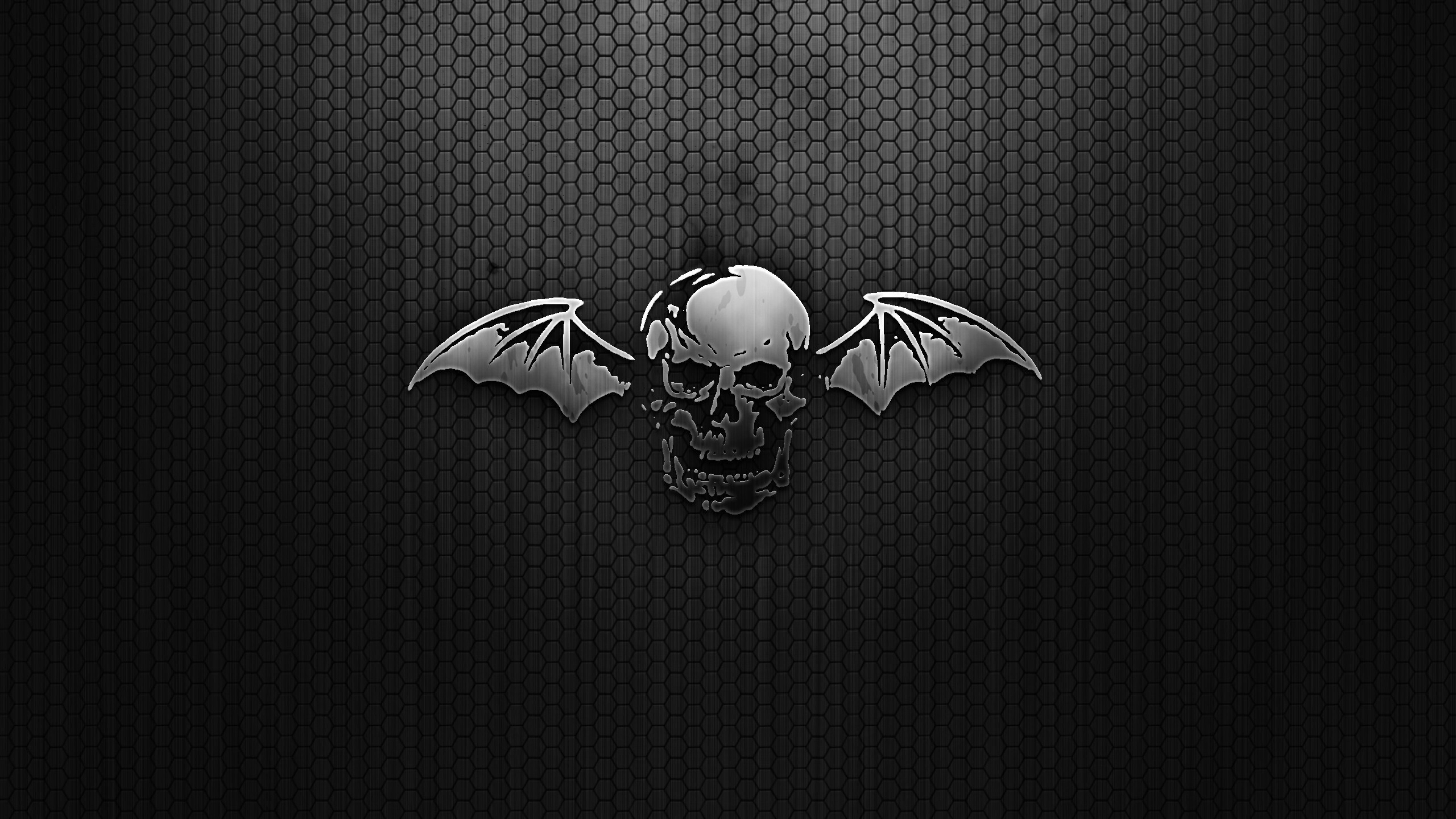 Wallpaper black, skull, wings, mesh