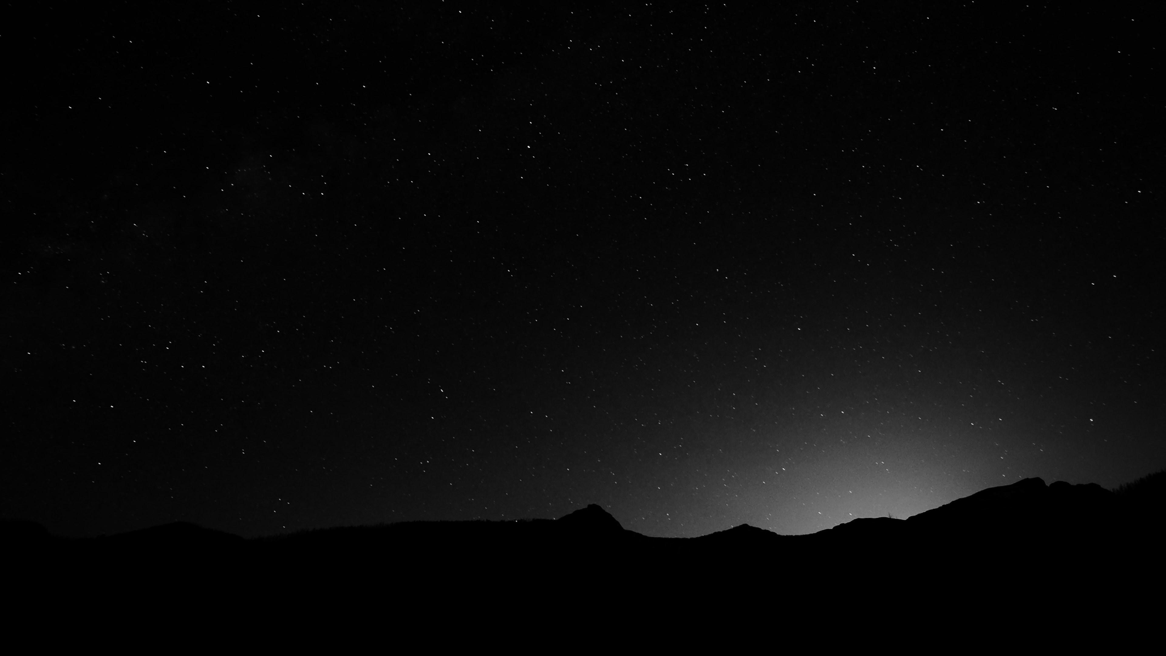 Night Sky over the Mountains Black & White 4K Wallpaper