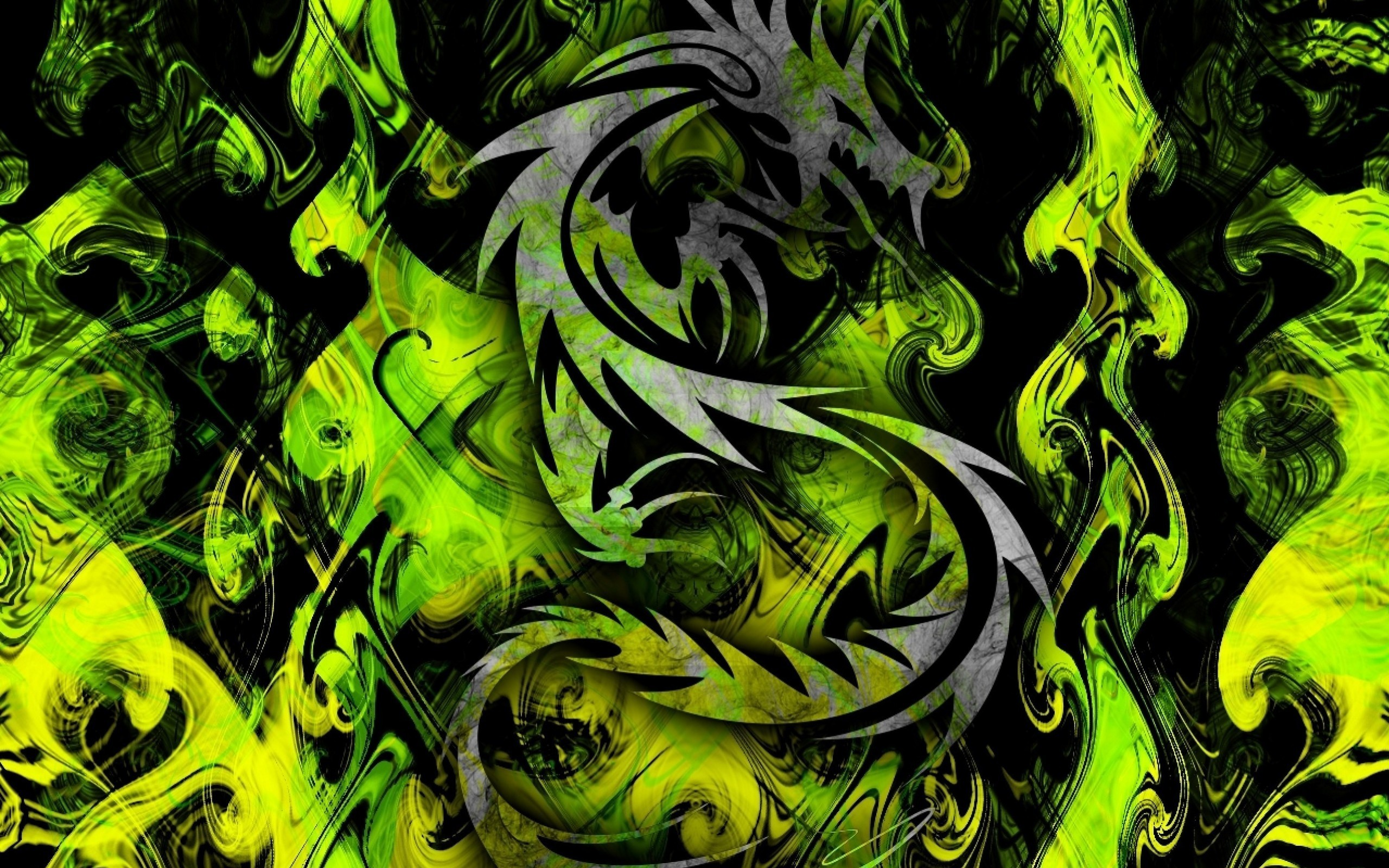 High Resolution Desktop Pictures with Cool Green Tribal Dragon .