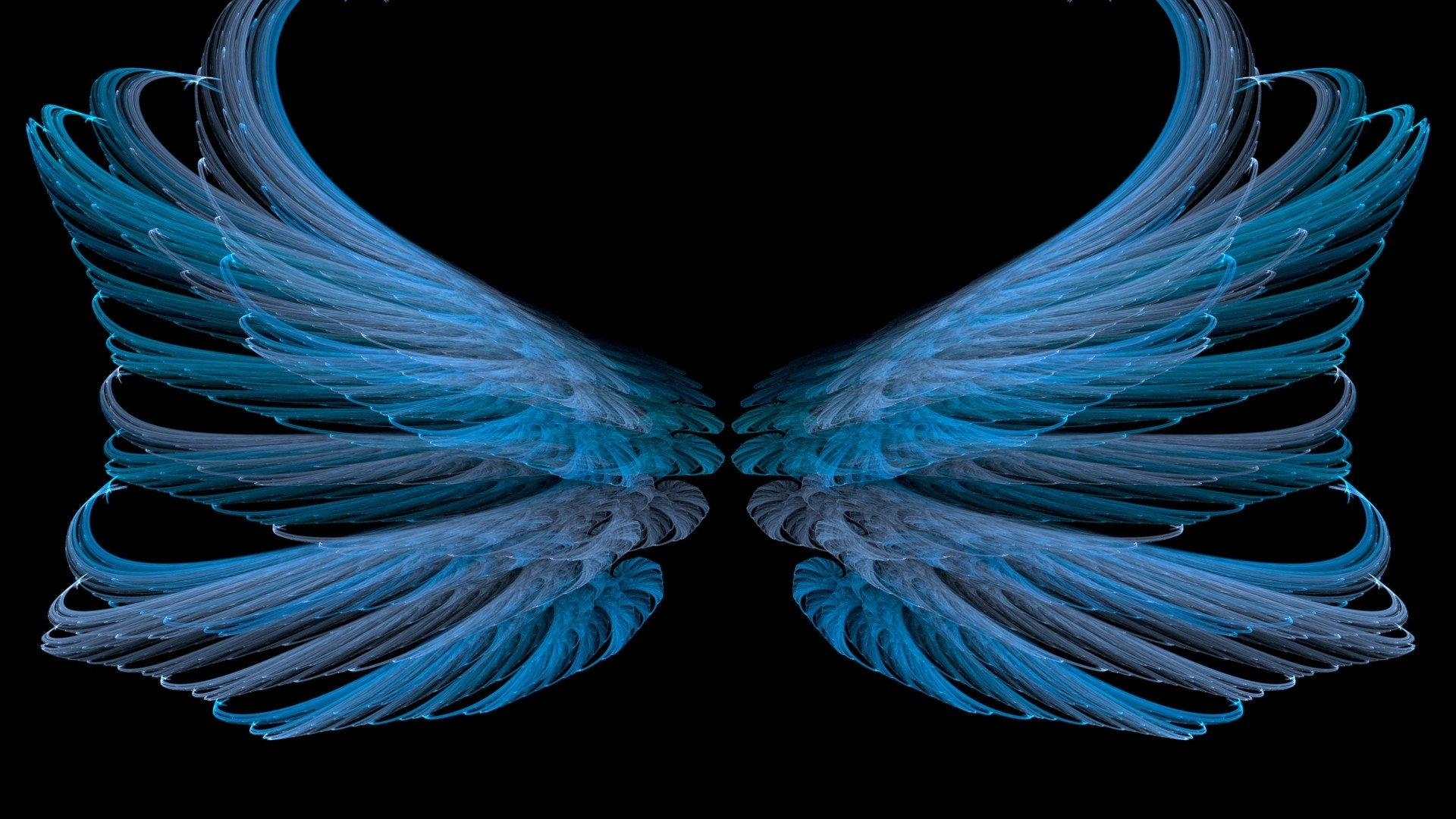 Preview wallpaper blue, black, wings, white, bright 1920×1080