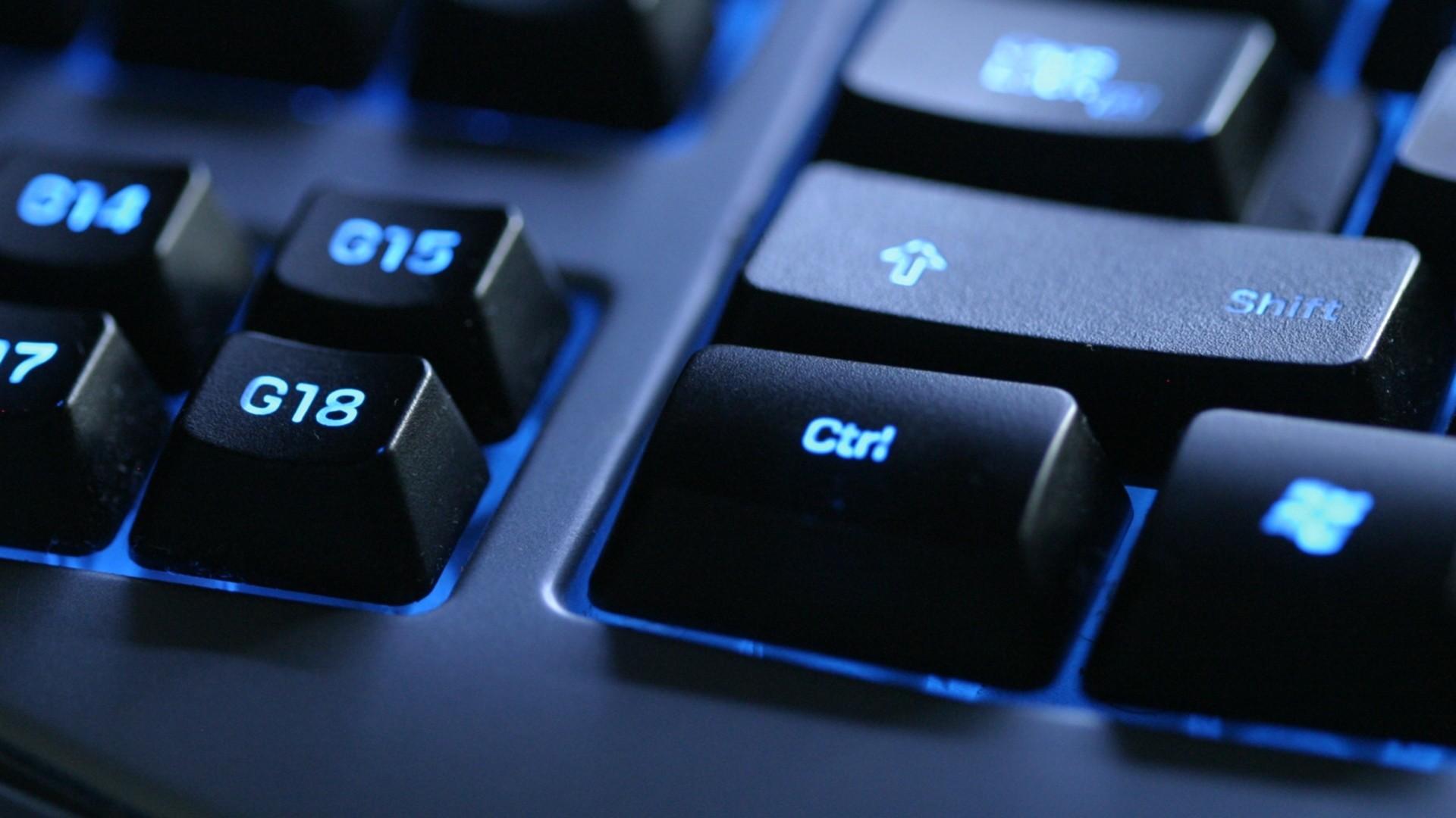 Wallpaper keyboard, blue, black, button