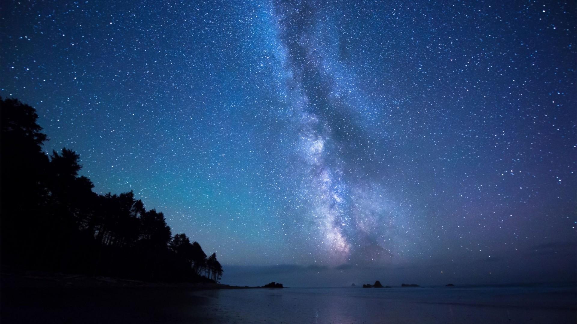 Preview wallpaper stars, sky, shore 1920×1080