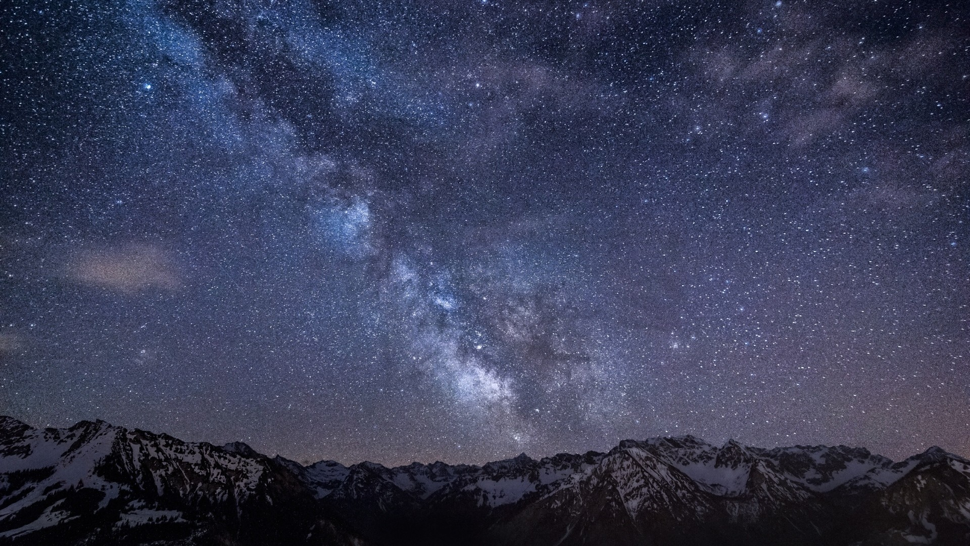 Preview wallpaper milky way, stars, mountains, night, germany, bavaria, sky