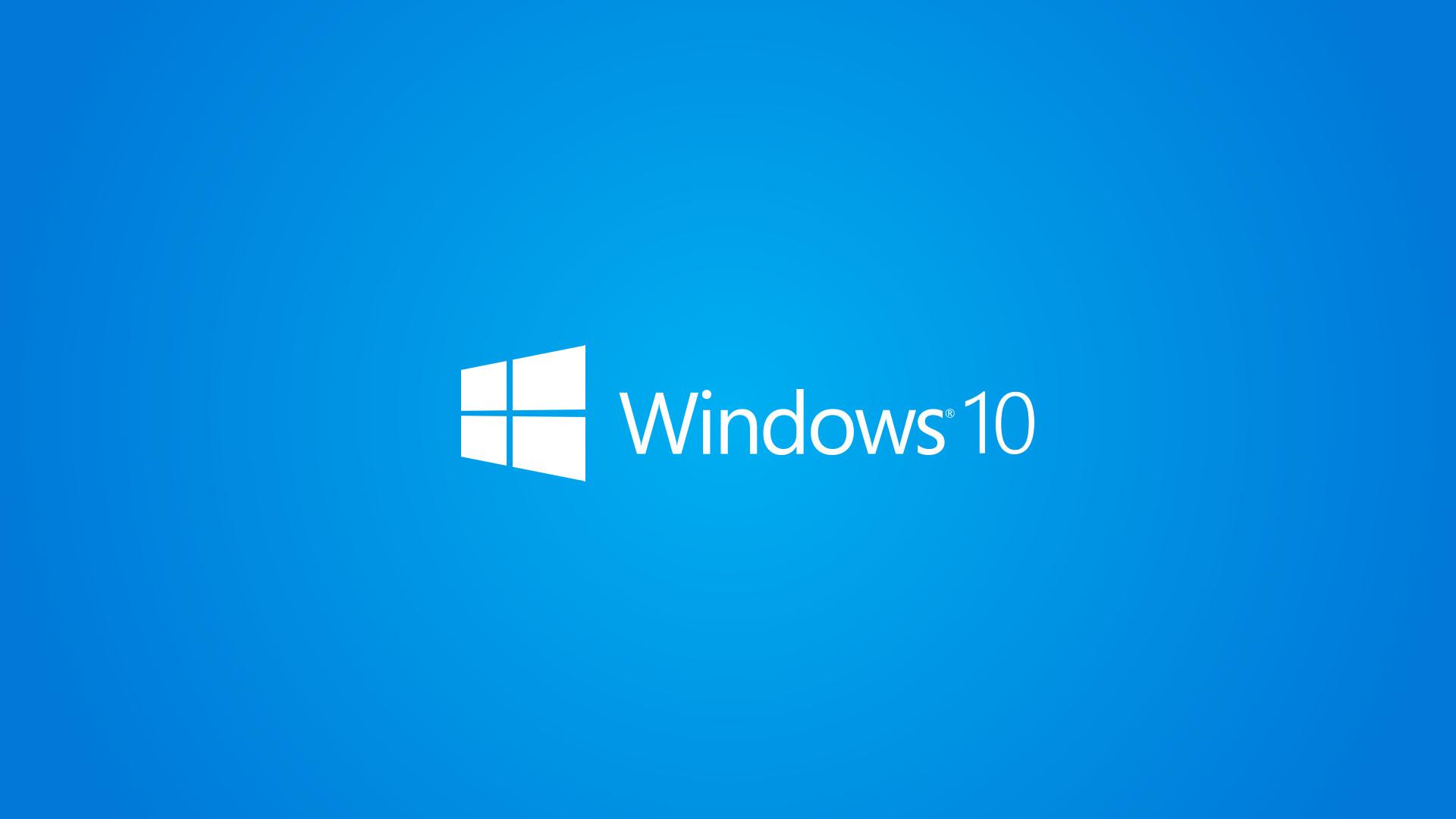 Windows 10 Wallpaper 1080p Full HD White Logo Blue Background