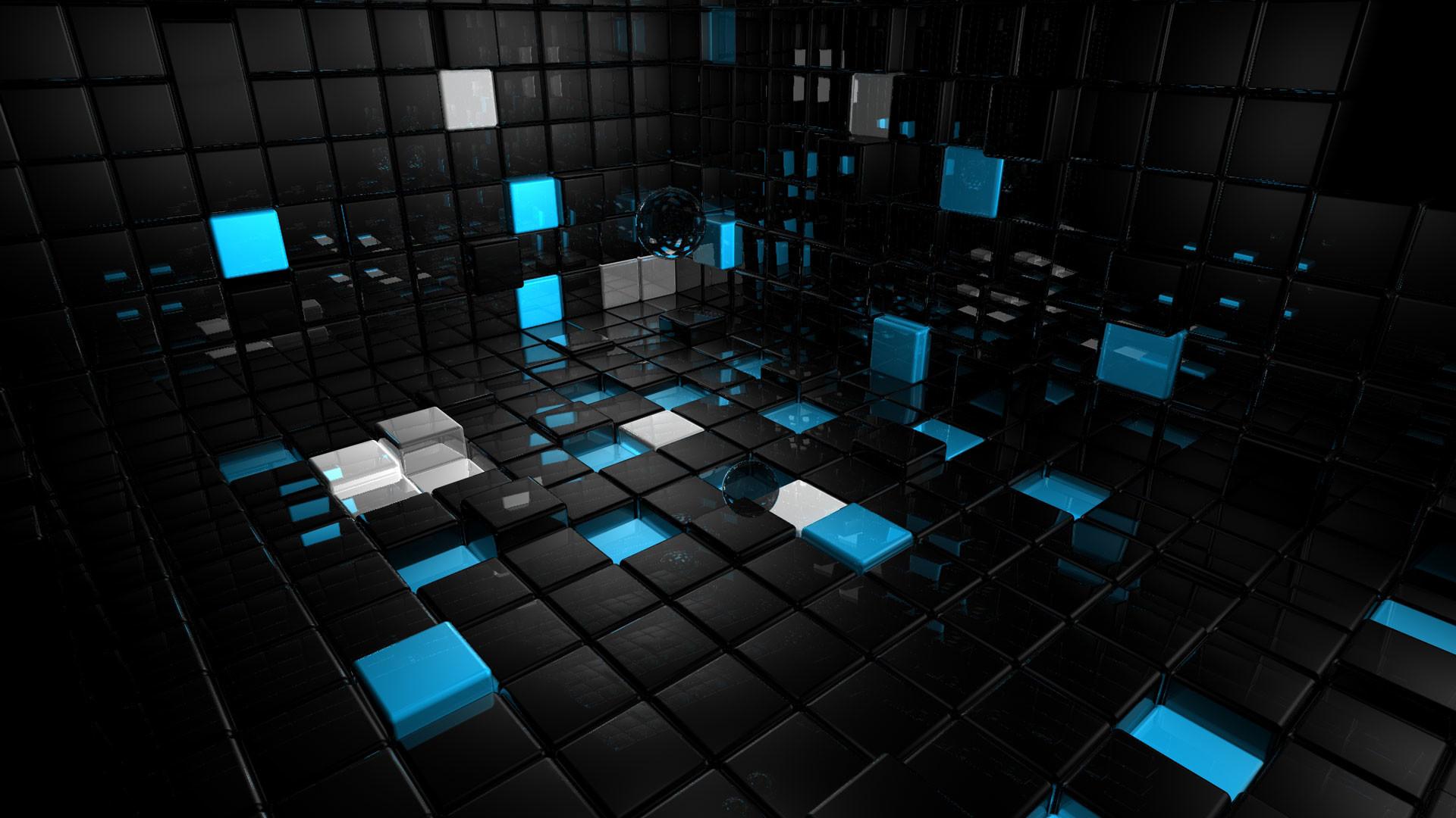hd pics photos 3d blue black technology blocks wallpaper