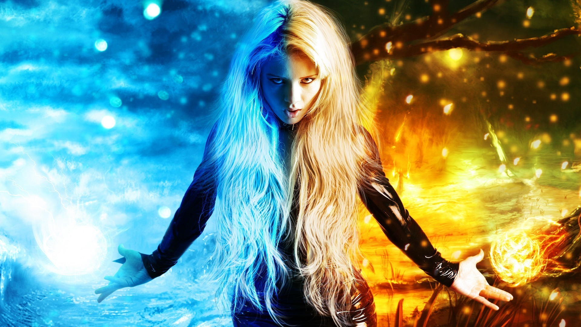 … fantasy girl wallpaper, fire hd · fantasy, digital art, magic, x-men,  fire, ice, bokeh