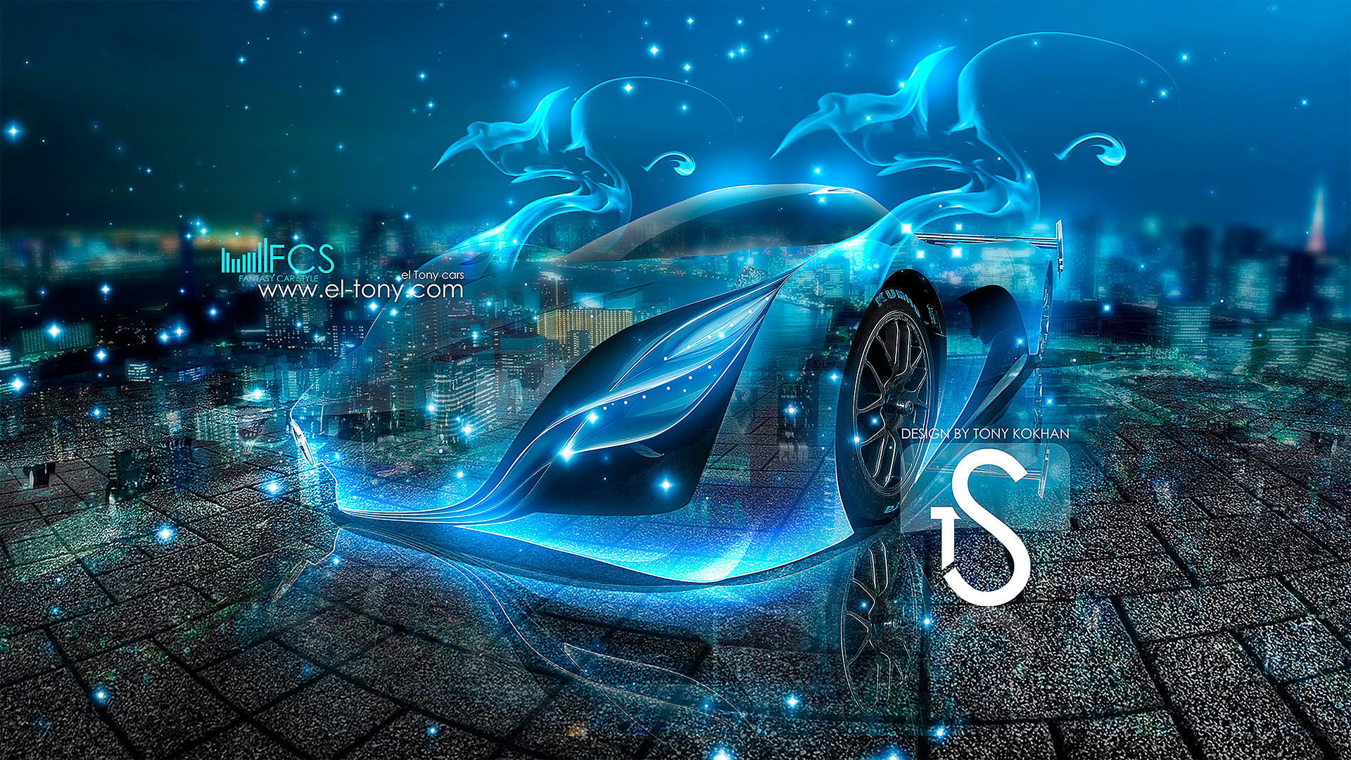 Mazda-Furai-Fantasy-Blue-Fire-Crystal-Car-2013-HD-Wallpapers -design-by-Tony-Kokhan-[www.el-tony.com]