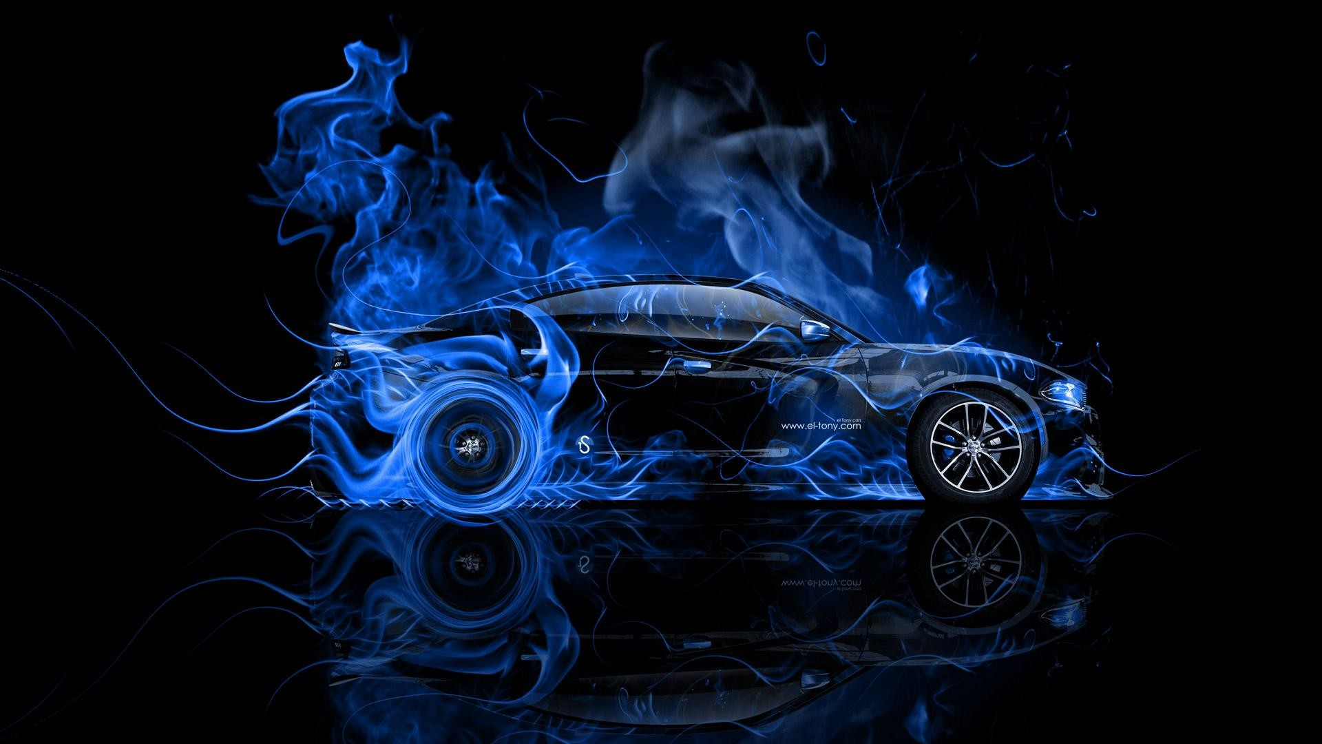 Dodge-Charger-RT-Muscle-Side-Blue-Fire-Abstract-