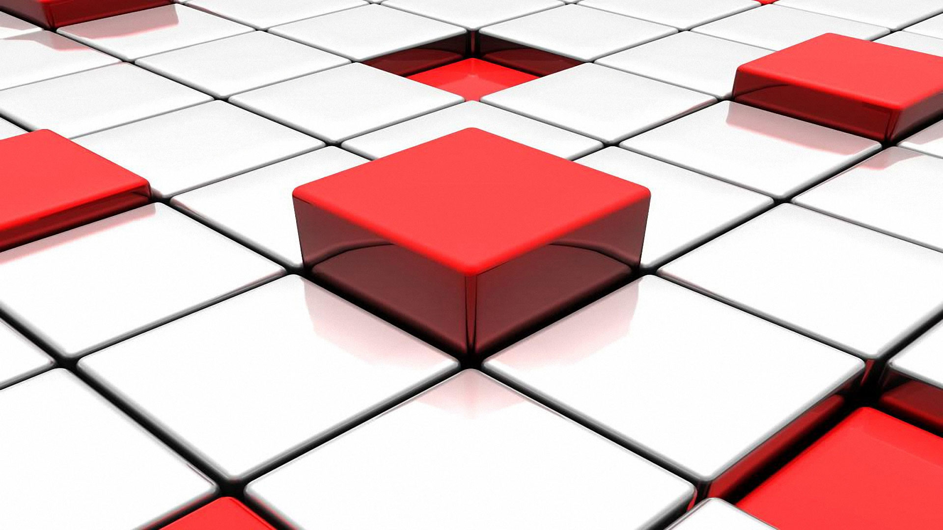 Red Abstract D And White Tiles Free Wallpaper
