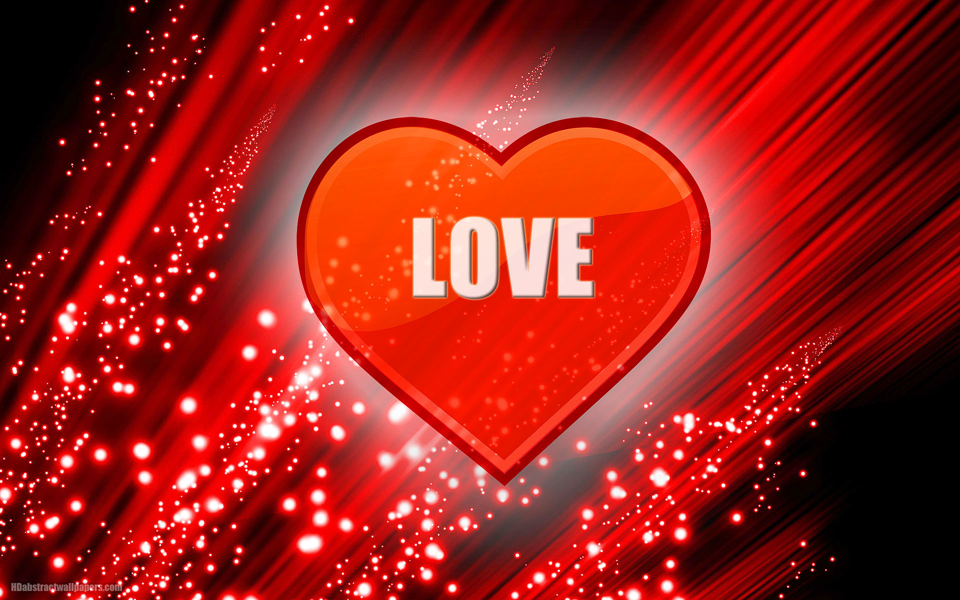 Red abstract wallpaper with big heart and text love