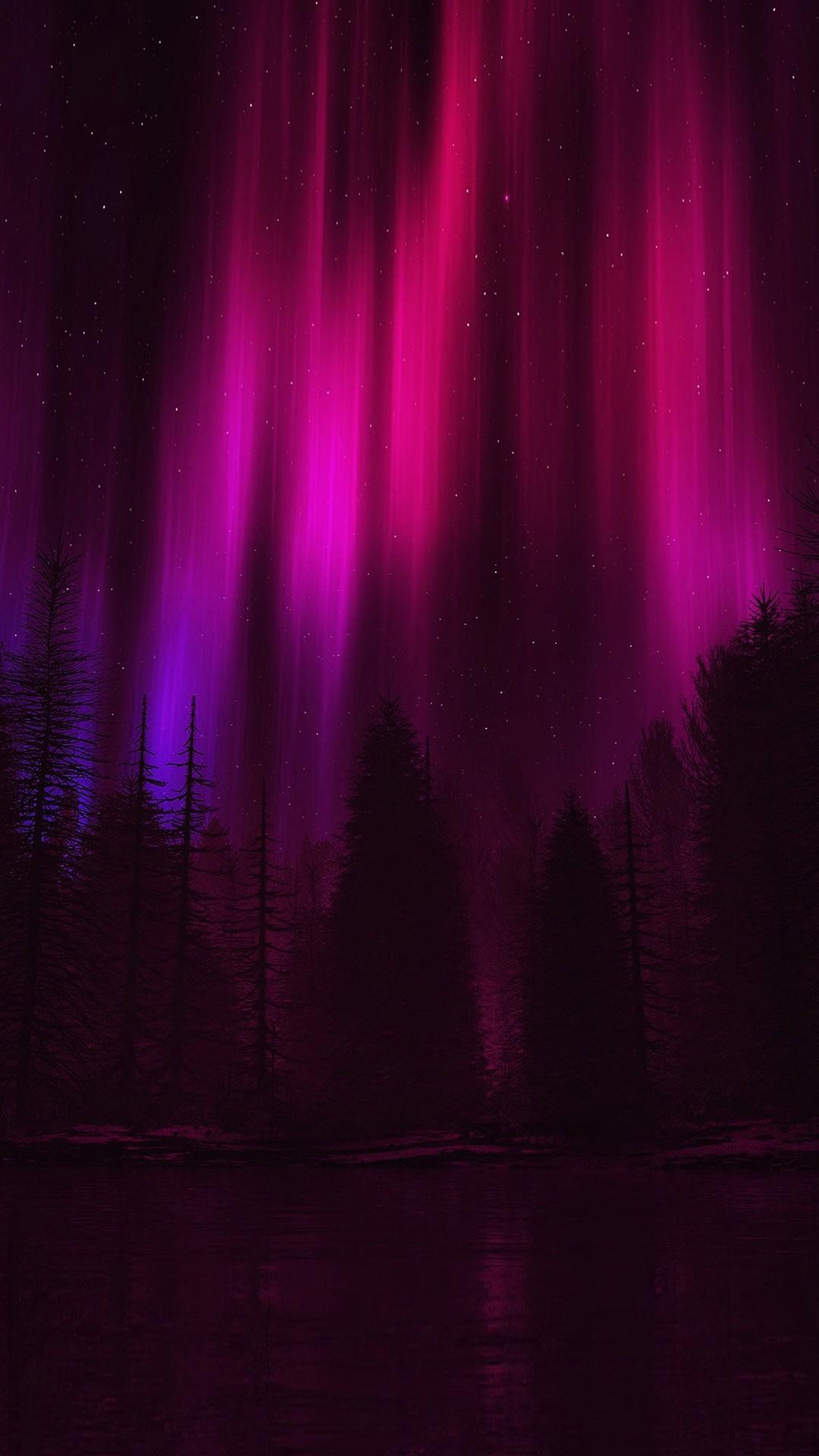 Aurora Night Sky Dark Red Nature Art iPhone 8 wallpaper