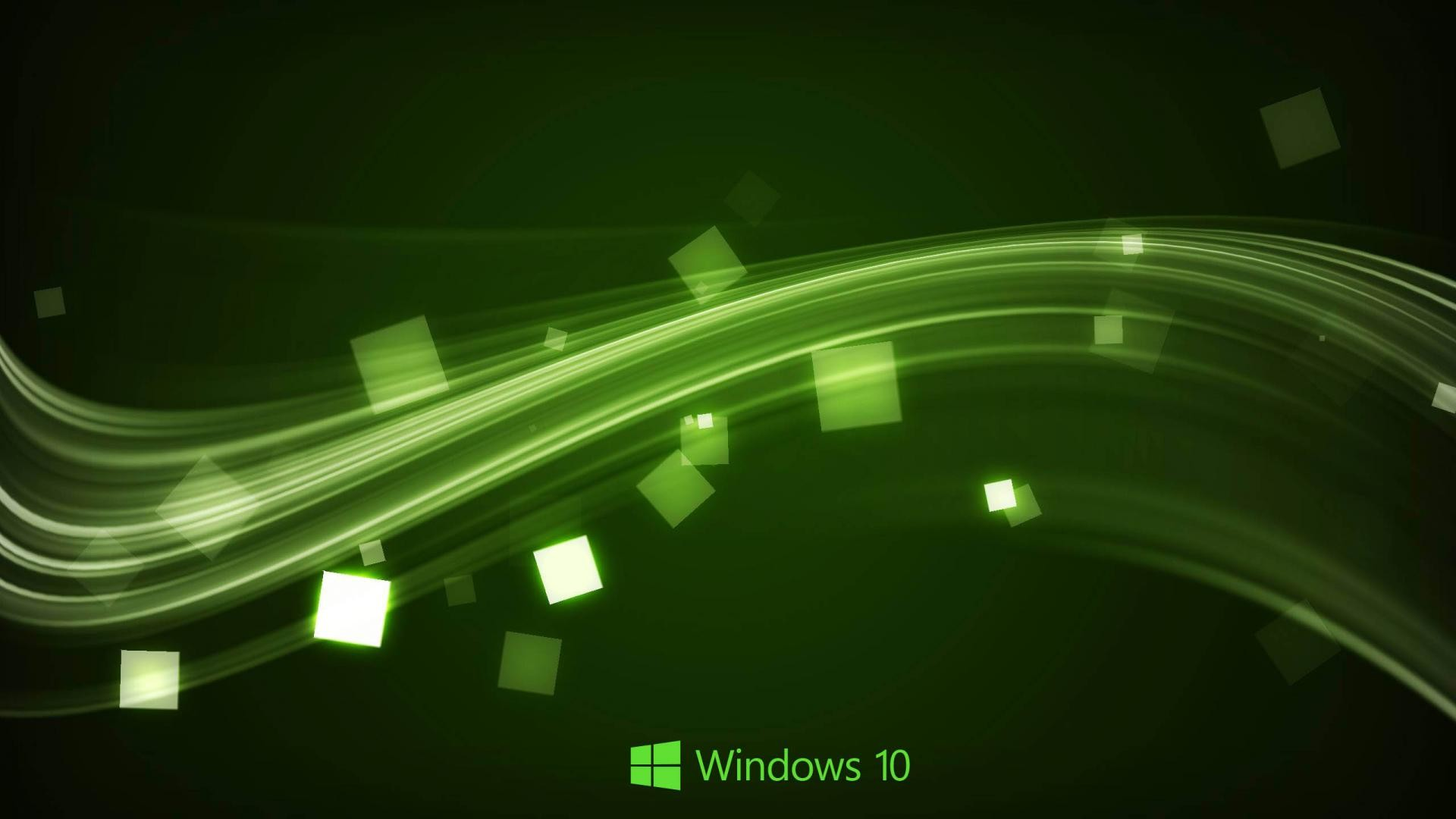 Windows 10 Wallpaper in Abstract Green Waves | HD Wallpapers for Free