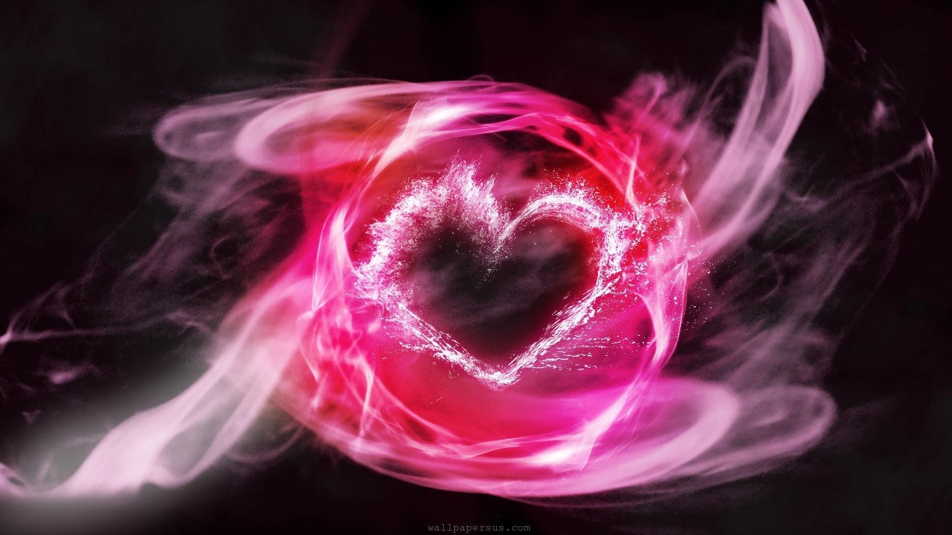 pink heart smoke abstract dekstop wallpaper