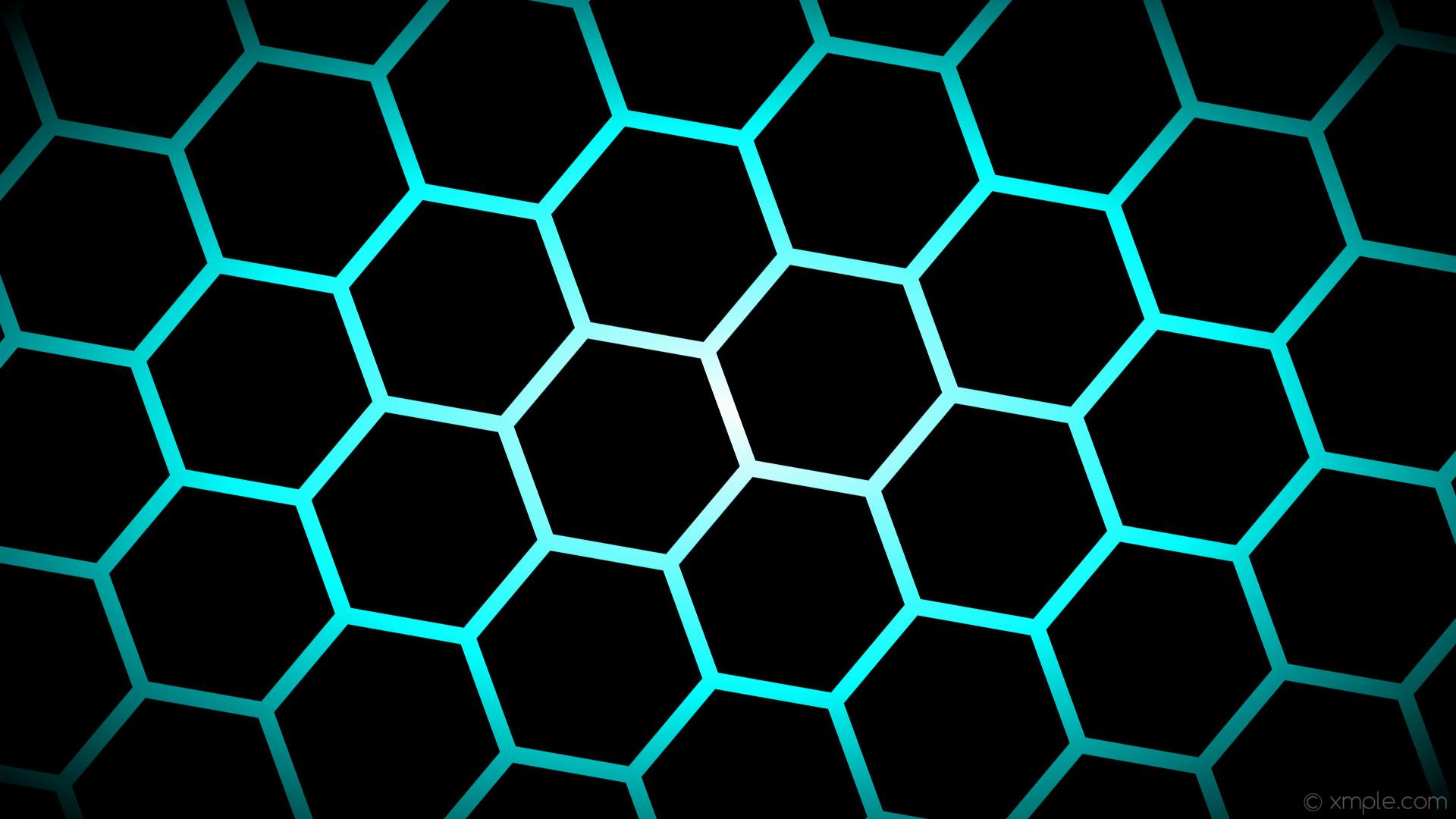 wallpaper glow hexagon black blue white gradient aqua cyan #000000 #ffffff  #00ffff diagonal