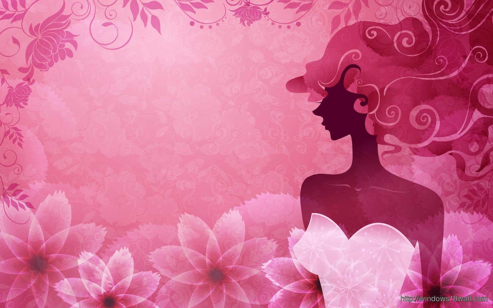 Pink Design Girl Wallpaper