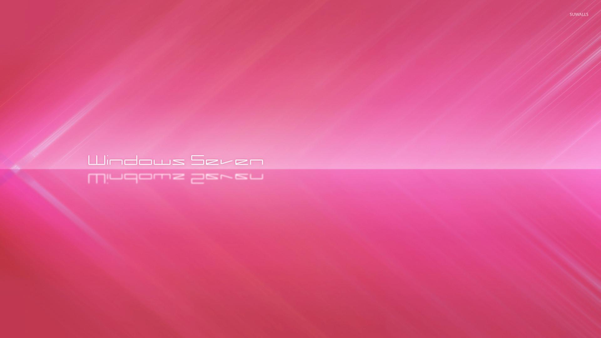 White Windows Seven between pink stripes wallpaper