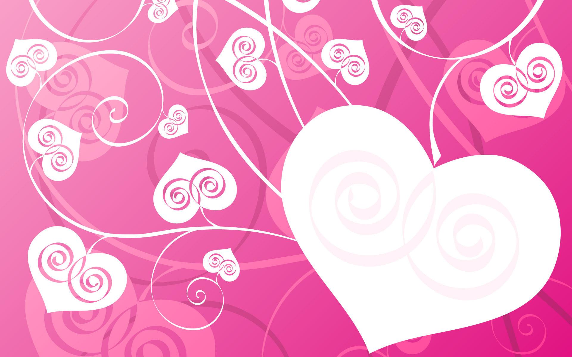 Heart, Love, White, Pink, Vines