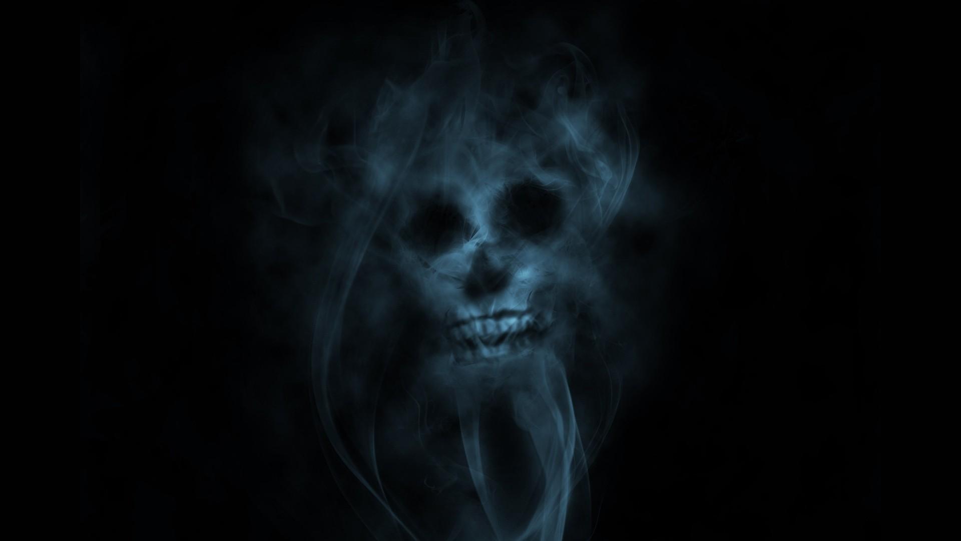 smoke, skull, light