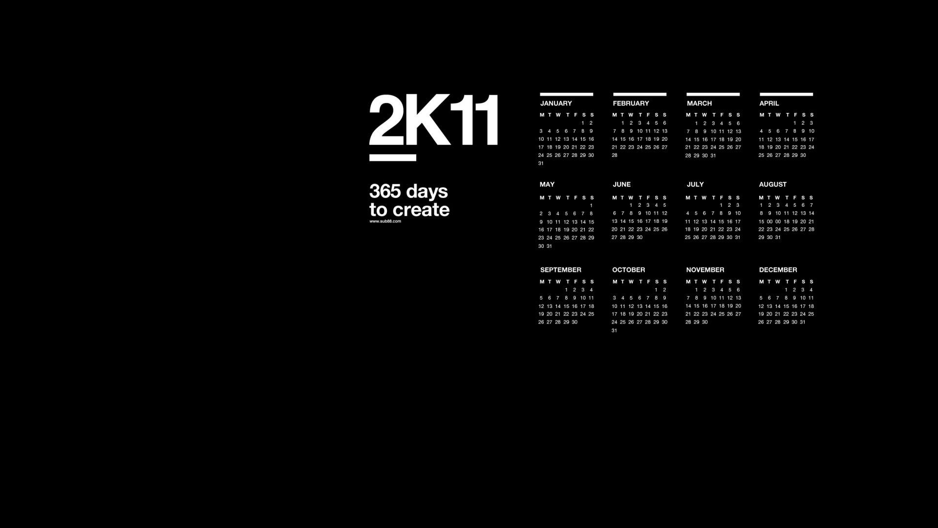 2K11 black calendar