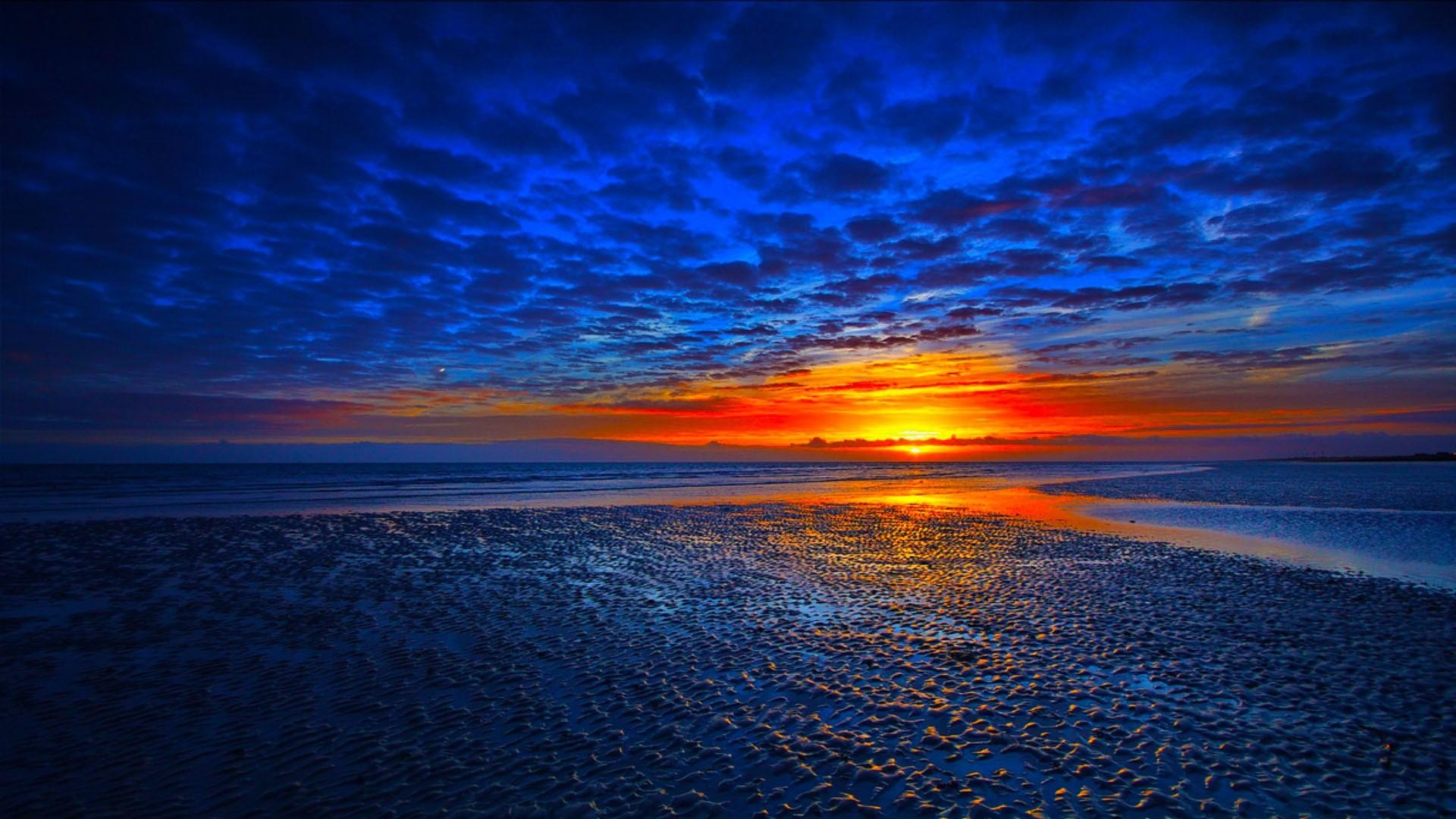 Beautiful Blue Sunset Landscape Wallpaper | Nature Pics Wallpaper .