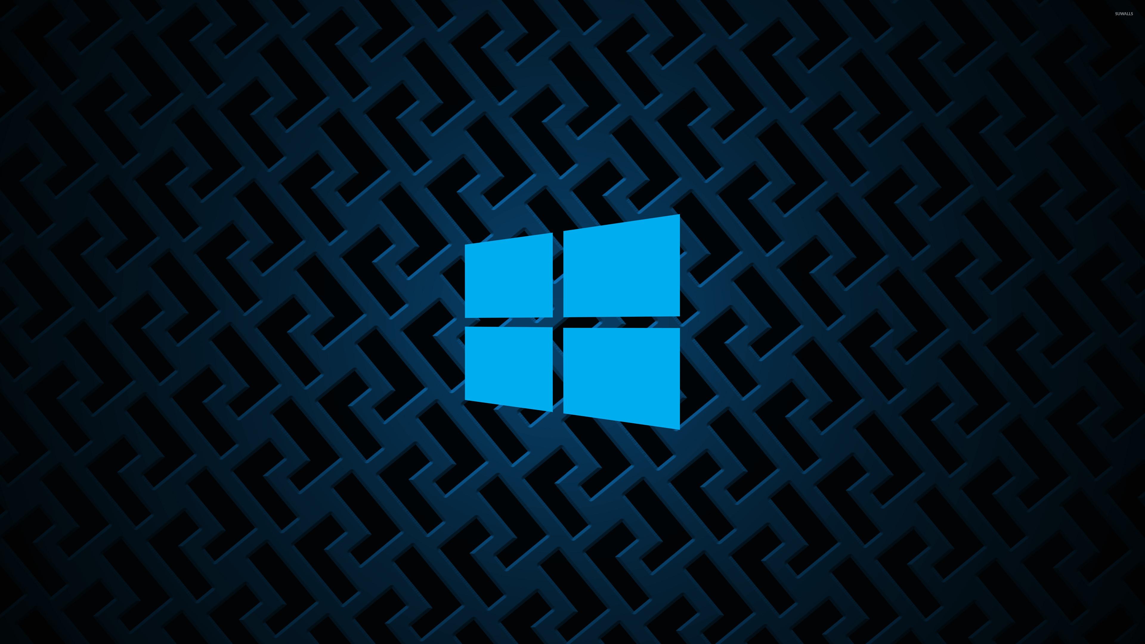 Windows 10 on metallic grid simple blue logo wallpaper